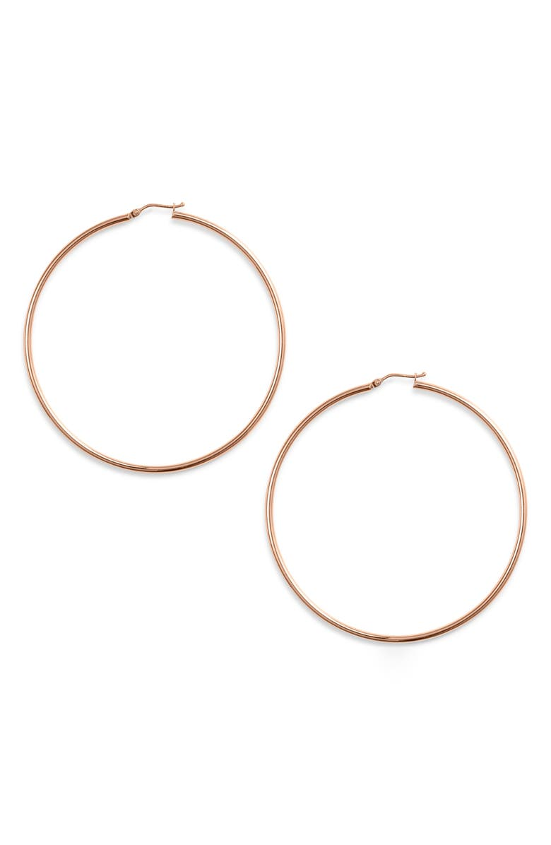 BONY LEVY Extra Large Gold Hoop Earrings, Main, color, ROSE GOLD