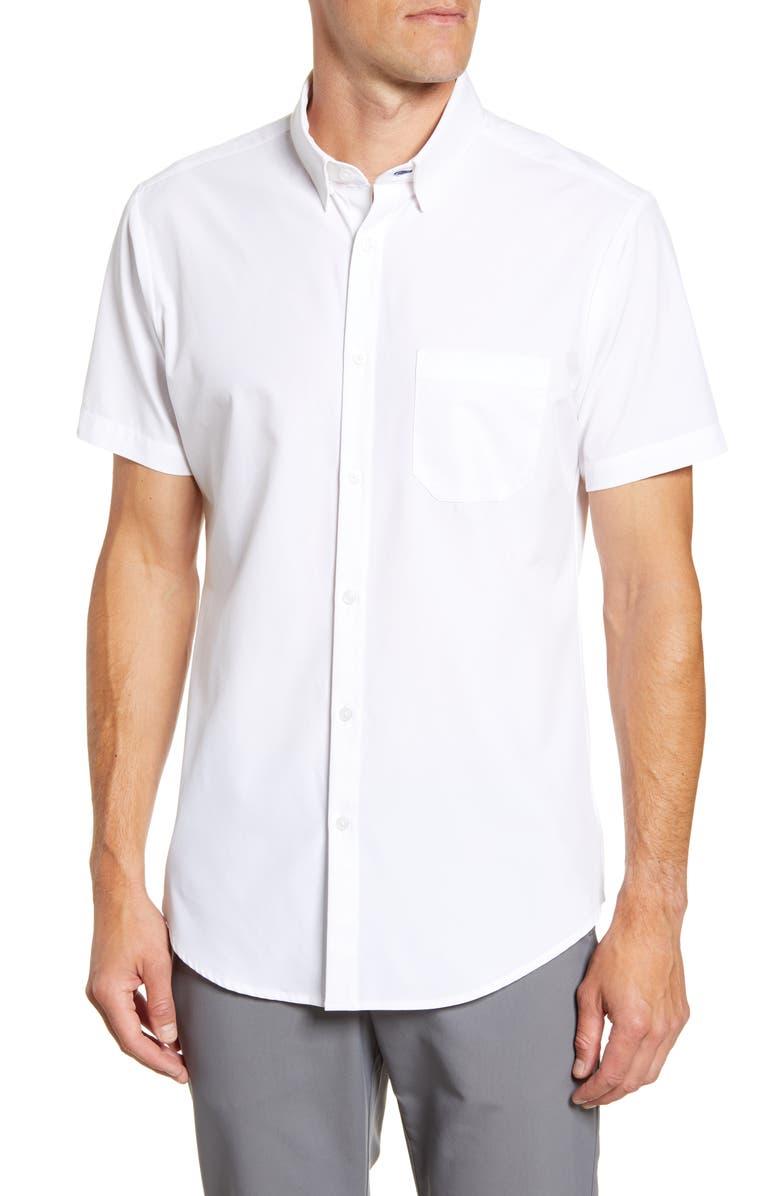 MIZZEN+MAIN Leeward Trim Fit Short Sleeve Button-Up Shirt, Main, color, WHITE