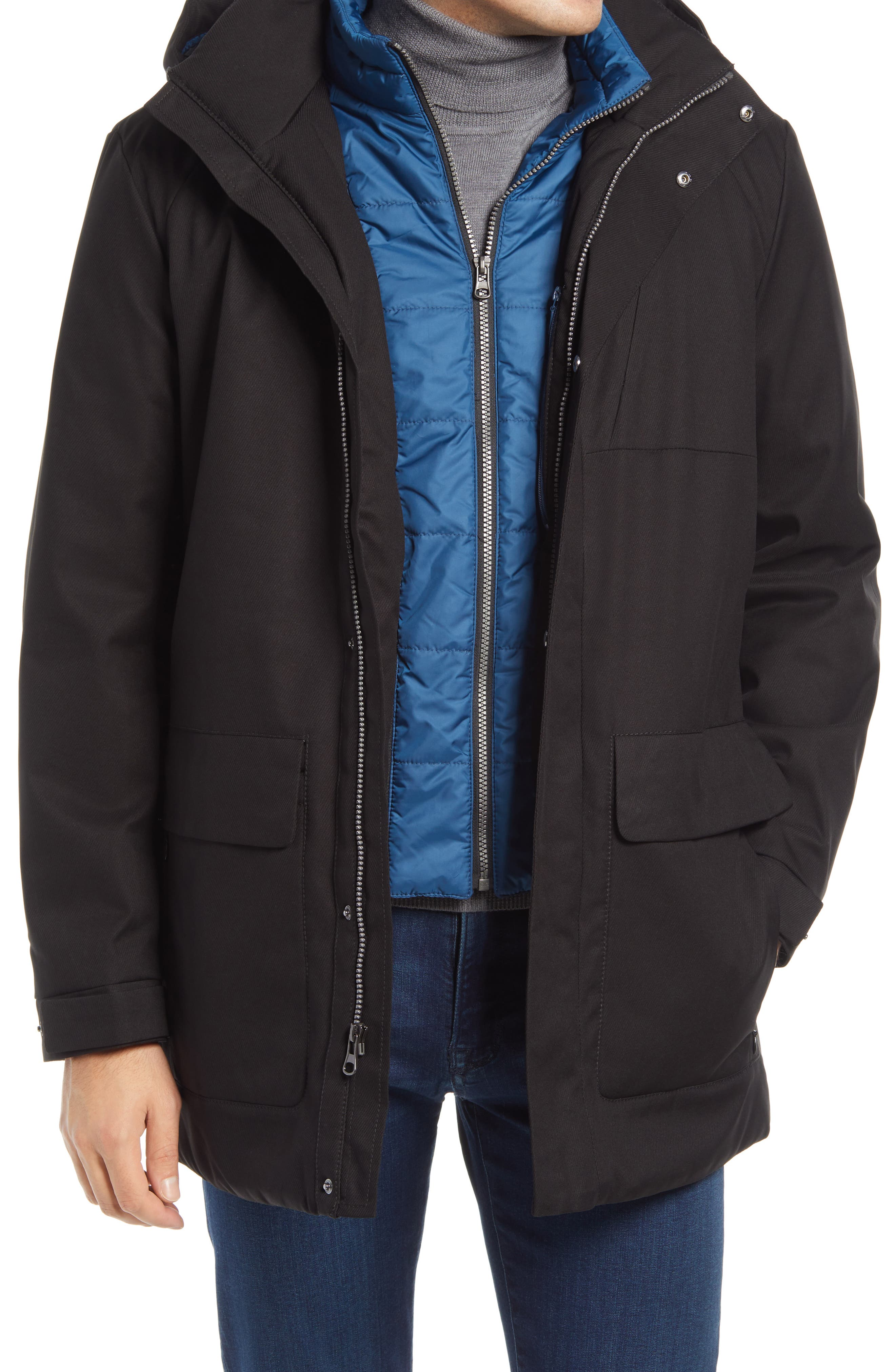 Water-resistant tech fabric means all-weather utility for a stylish jacket with a removable quilted liner for versatile comfort. Style Name: Bugatchi Water Resistant Hooded Parka. Style Number: 6129643. Available in stores.