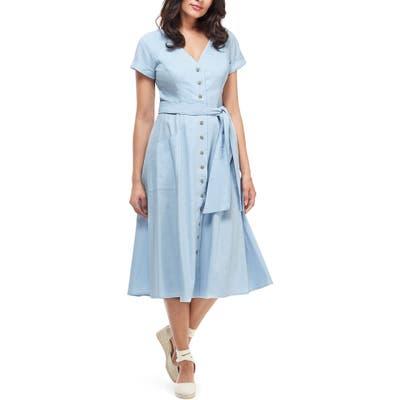 Gal Meets Glam Collection Vanessa Button Front Linen Blend Midi Dress, Blue