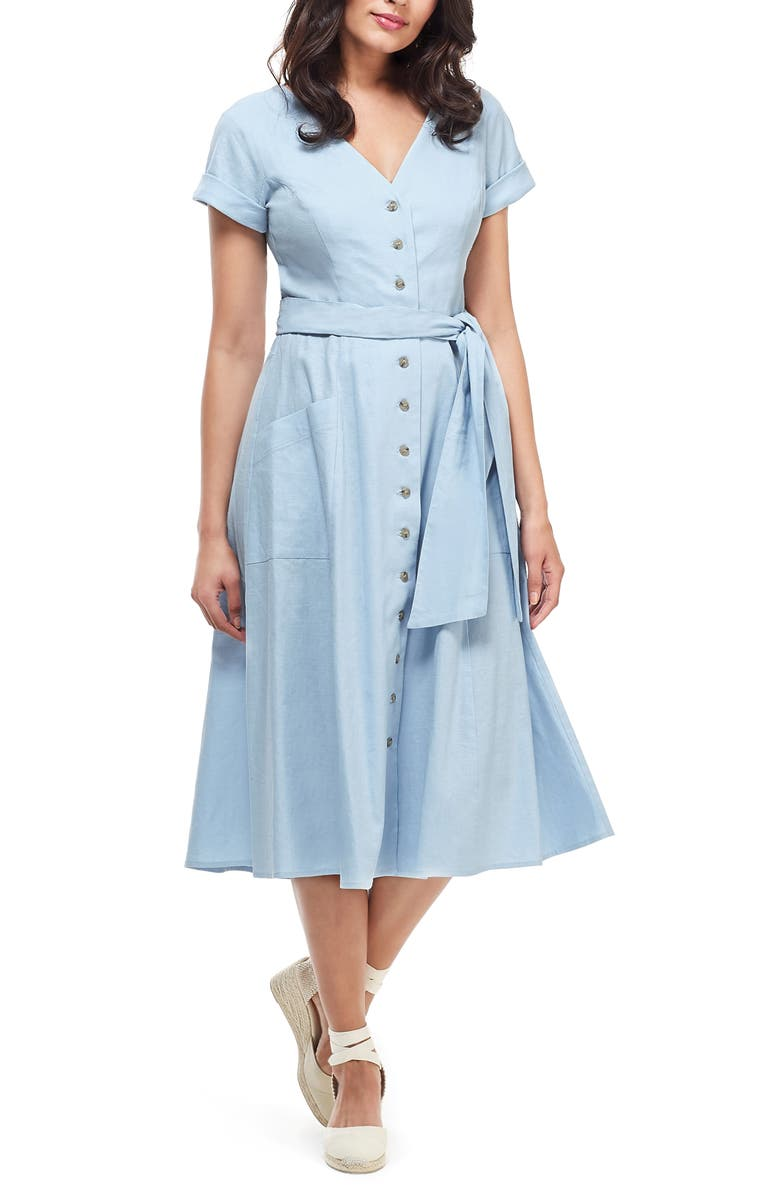 GAL MEETS GLAM COLLECTION Vanessa Button Front Linen Blend Midi Dress, Main, color, SKY