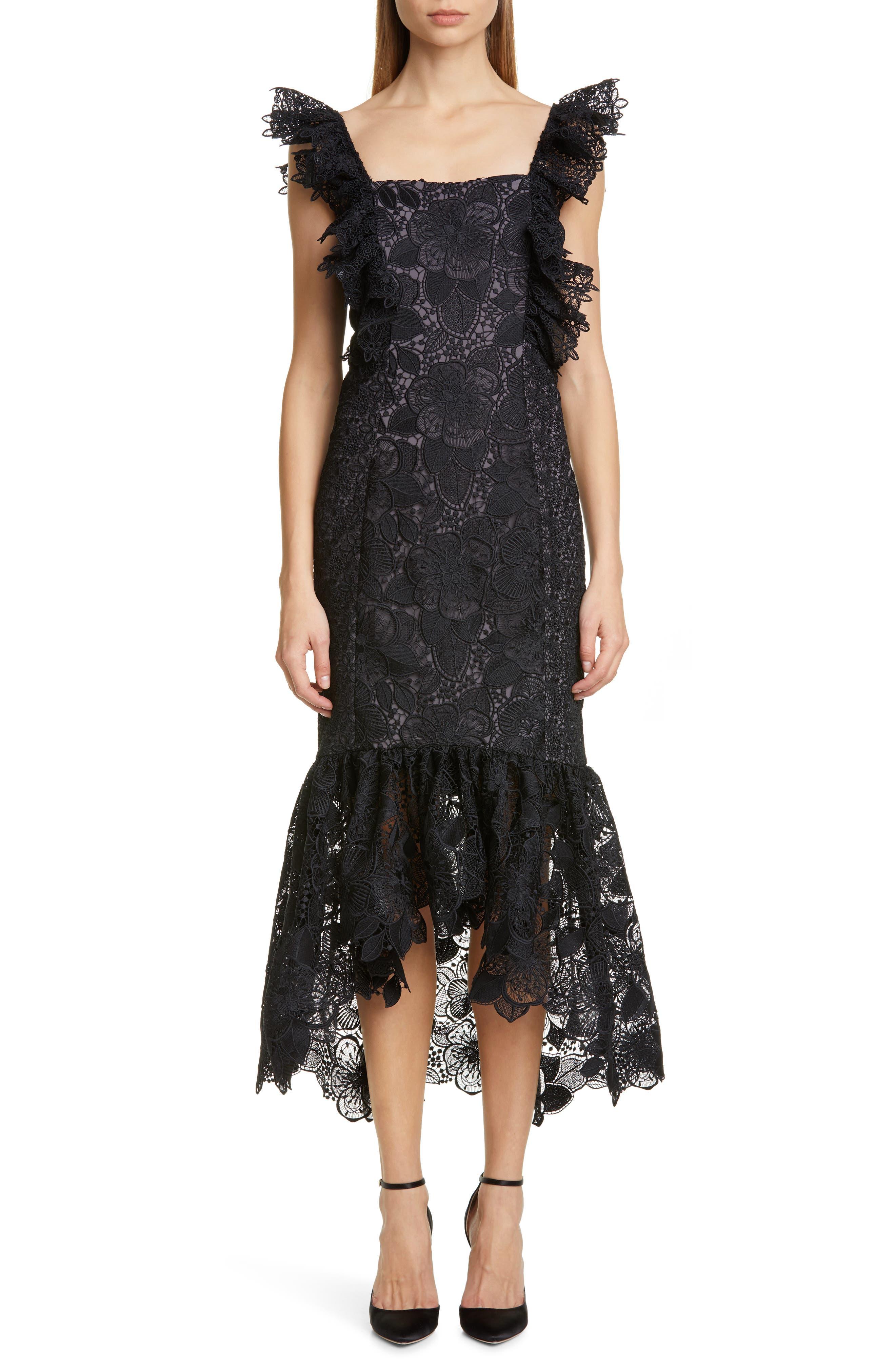 Badgley Mischka Collection Lace Midi Cocktail Dress, Black