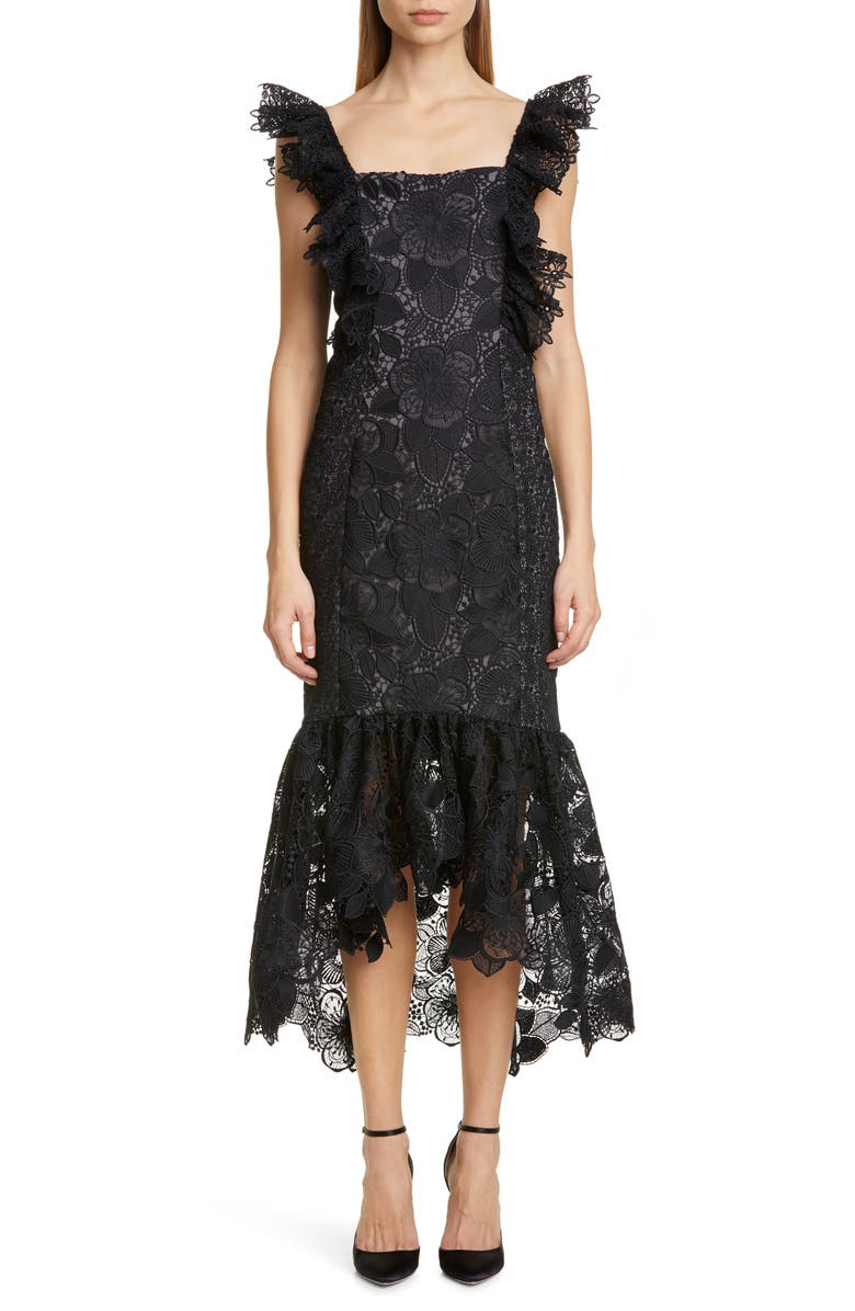 BADGLEY MISCHKA COLLECTION Lace Midi Cocktail Dress, Main, color, BLACK