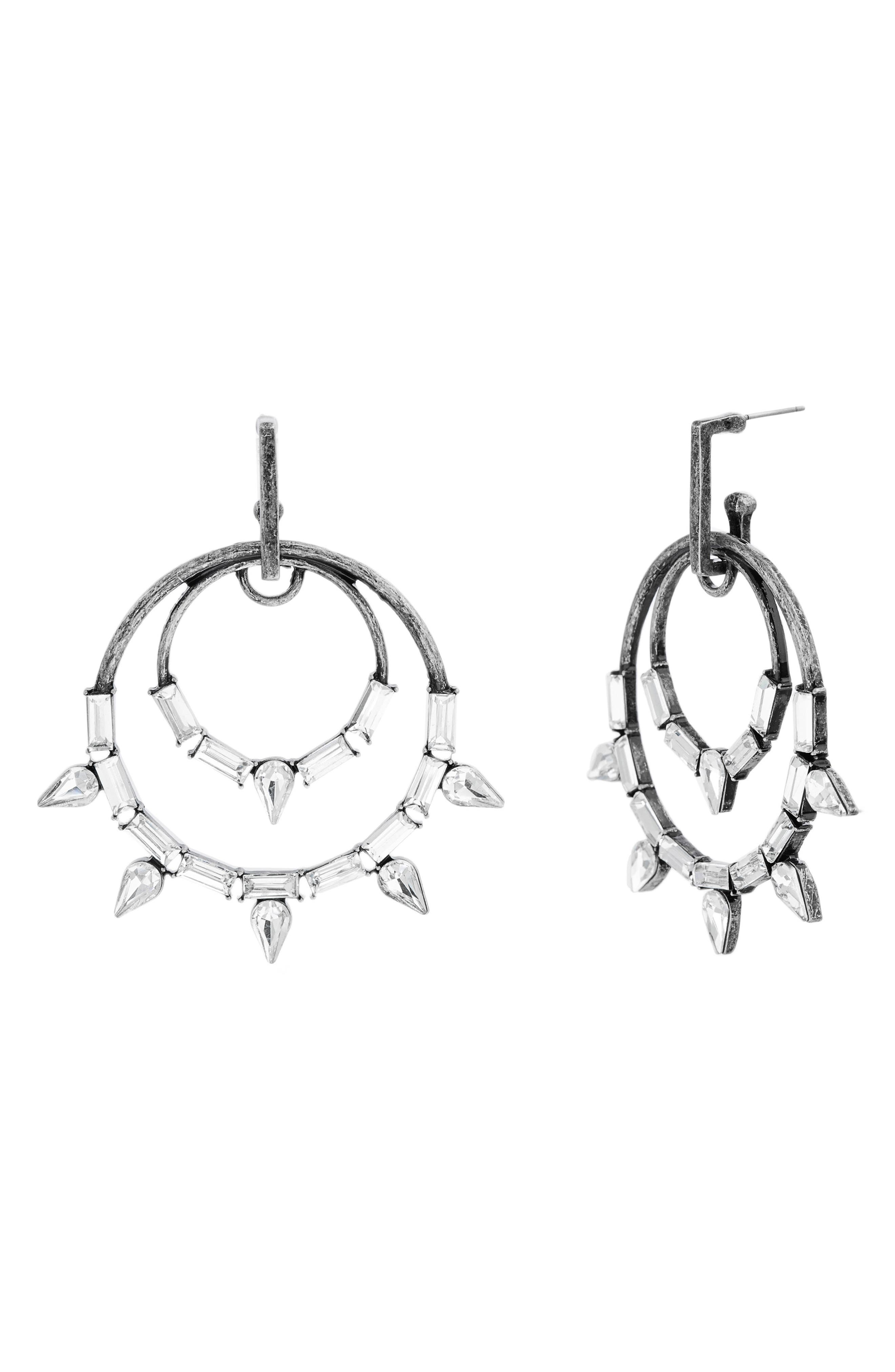 Image of Steve Madden Baguette Stone Casted Double Hoop Earrings