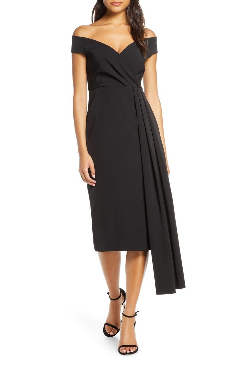ELIZA J Off the Shoulder Asymmetrical Cocktail Dress, Main, color, BLACK