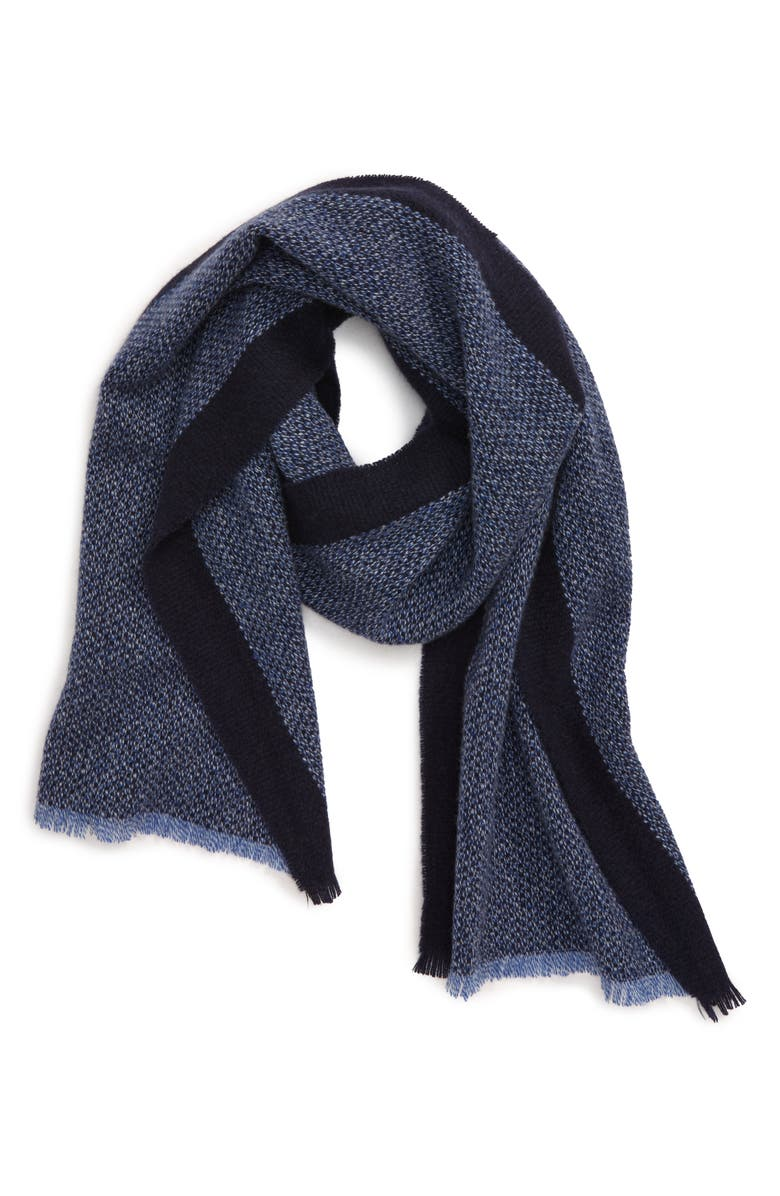 ANDREW STEWART Stripe Cashmere Scarf, Main, color, NAVY