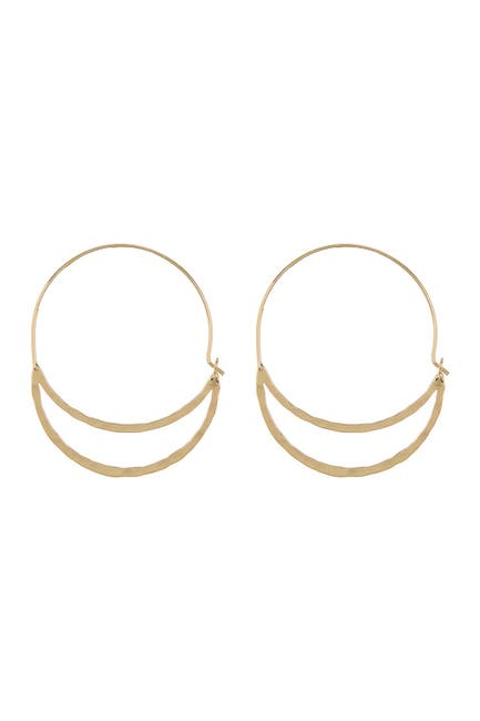 Image of AREA STARS Hammered Double Oval Hoop Earrings