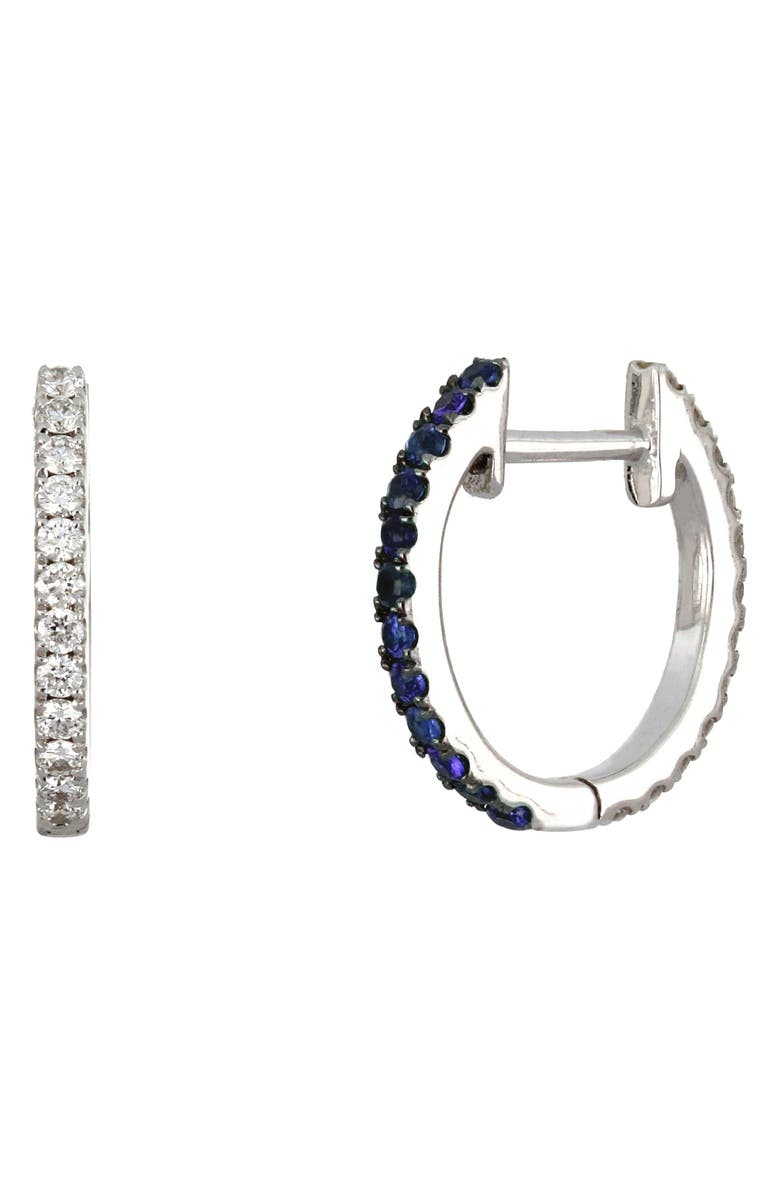 BONY LEVY Reversible Diamond & Sapphire Hoop Earrings, Main, color, WHITE GOLD/ SAPPHIRE