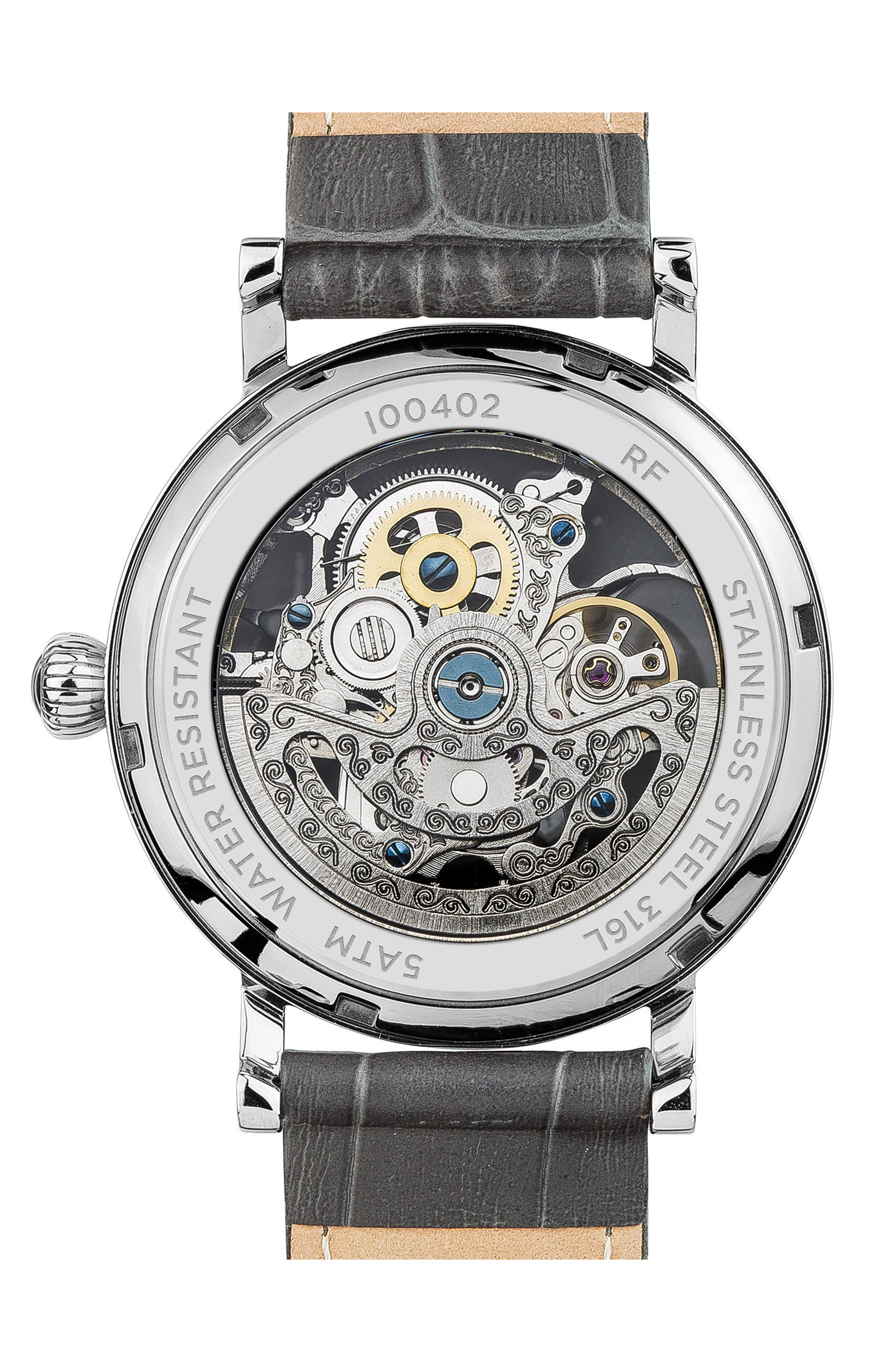 ,                             Ingersoll Herald Automatic Skeleton Leather Strap Watch, 40mm,                             Alternate thumbnail 2, color,                             GREY/ SKELETON/ SILVER