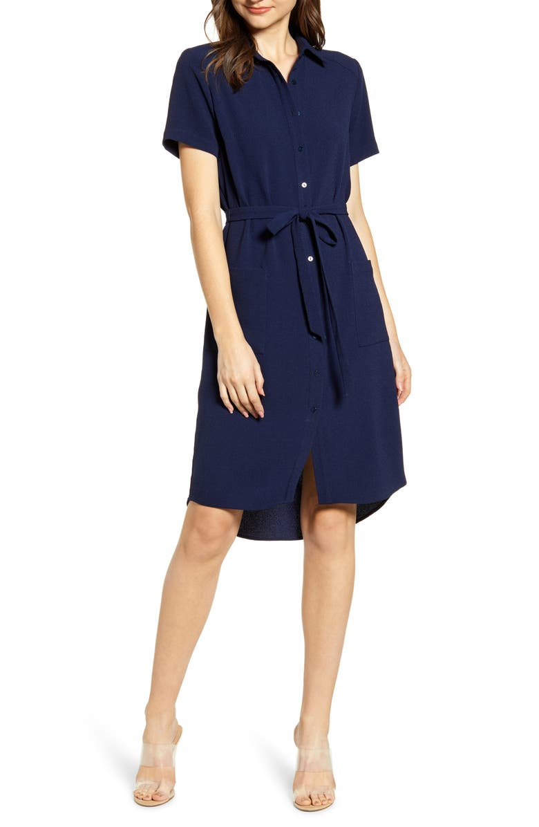 RACHEL PARCELL Everyday High/Low Shirt Dress, Main, color, 401