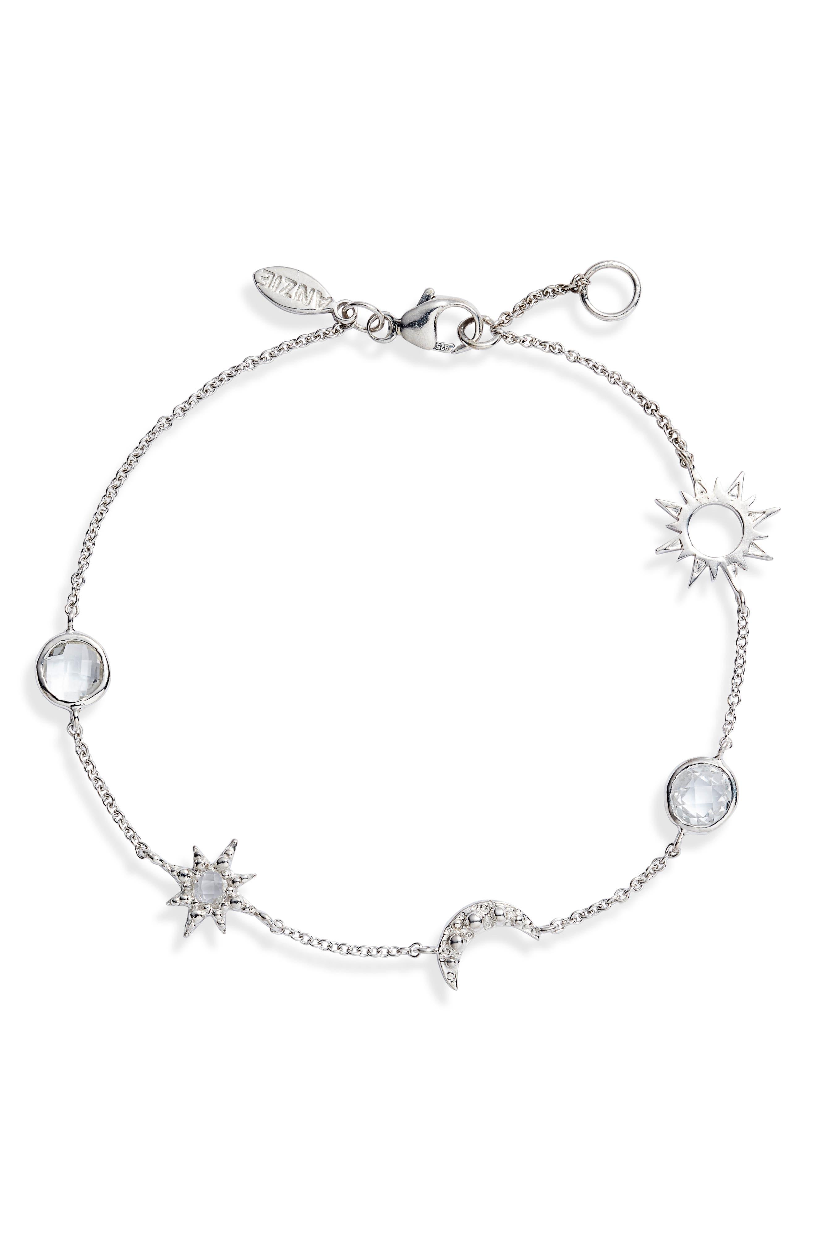 Starburst Celestial White Topaz Charm Bracelet