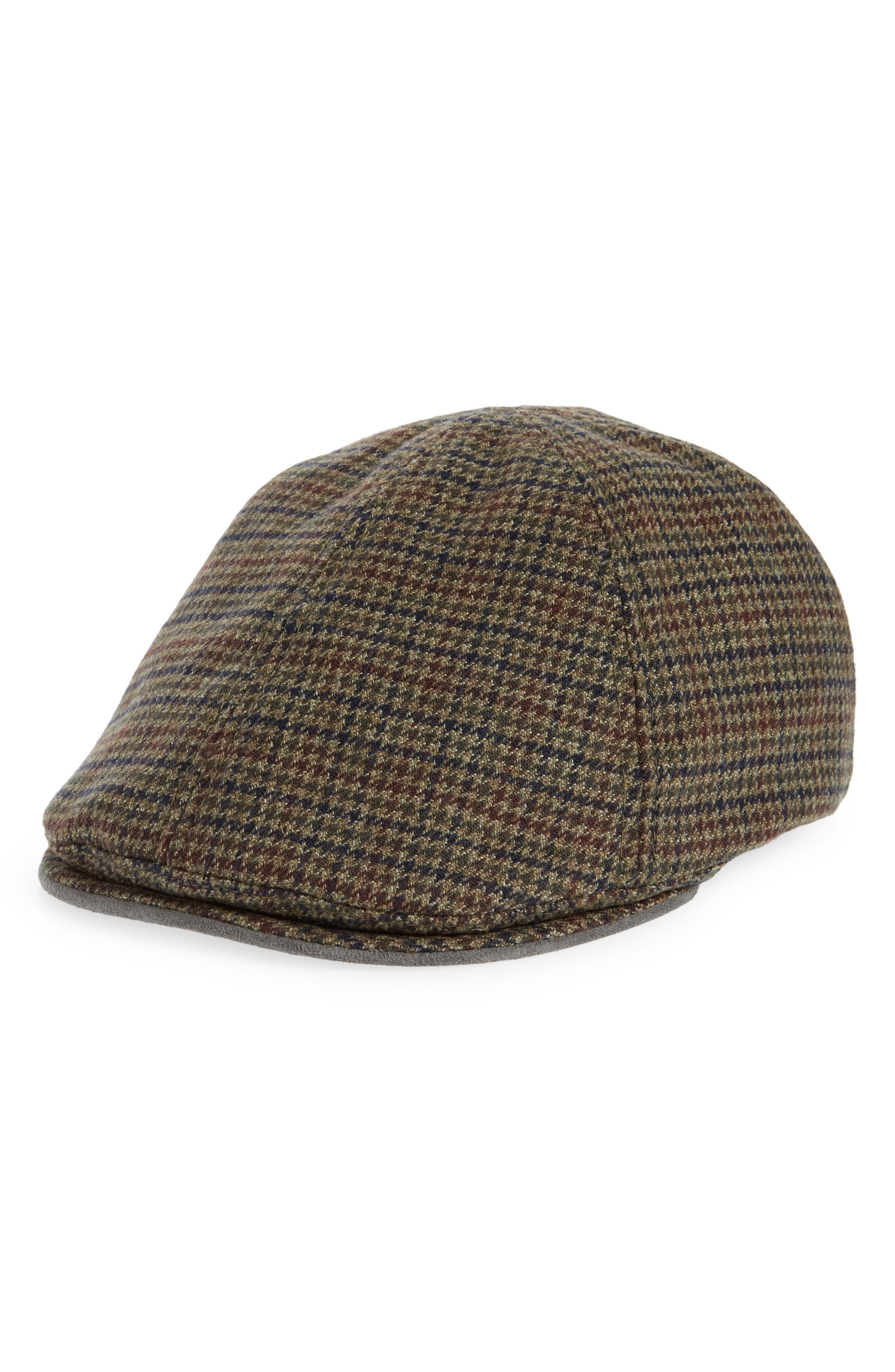 . Pacheco Houndstooth Wool Driving Cap