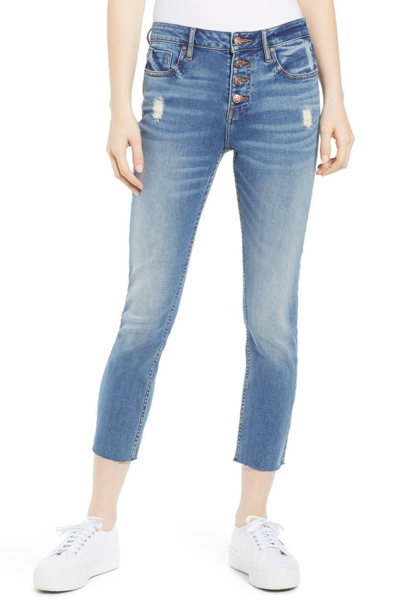 VIGOSS Stevie Distressed Straight Leg Crop Jeans, Main, color, 400