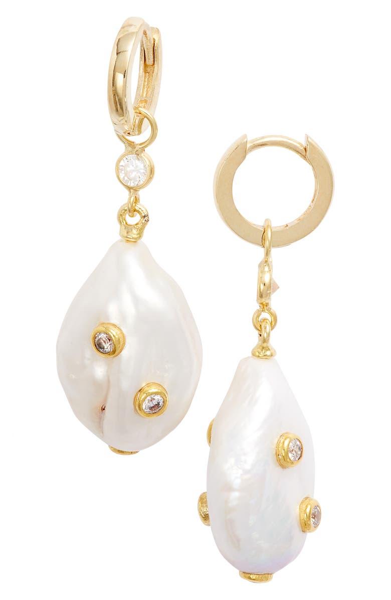 ADINA'S JEWELS Adina's Jewels Embellished Pearl Huggie Earrings, Main, color, 710