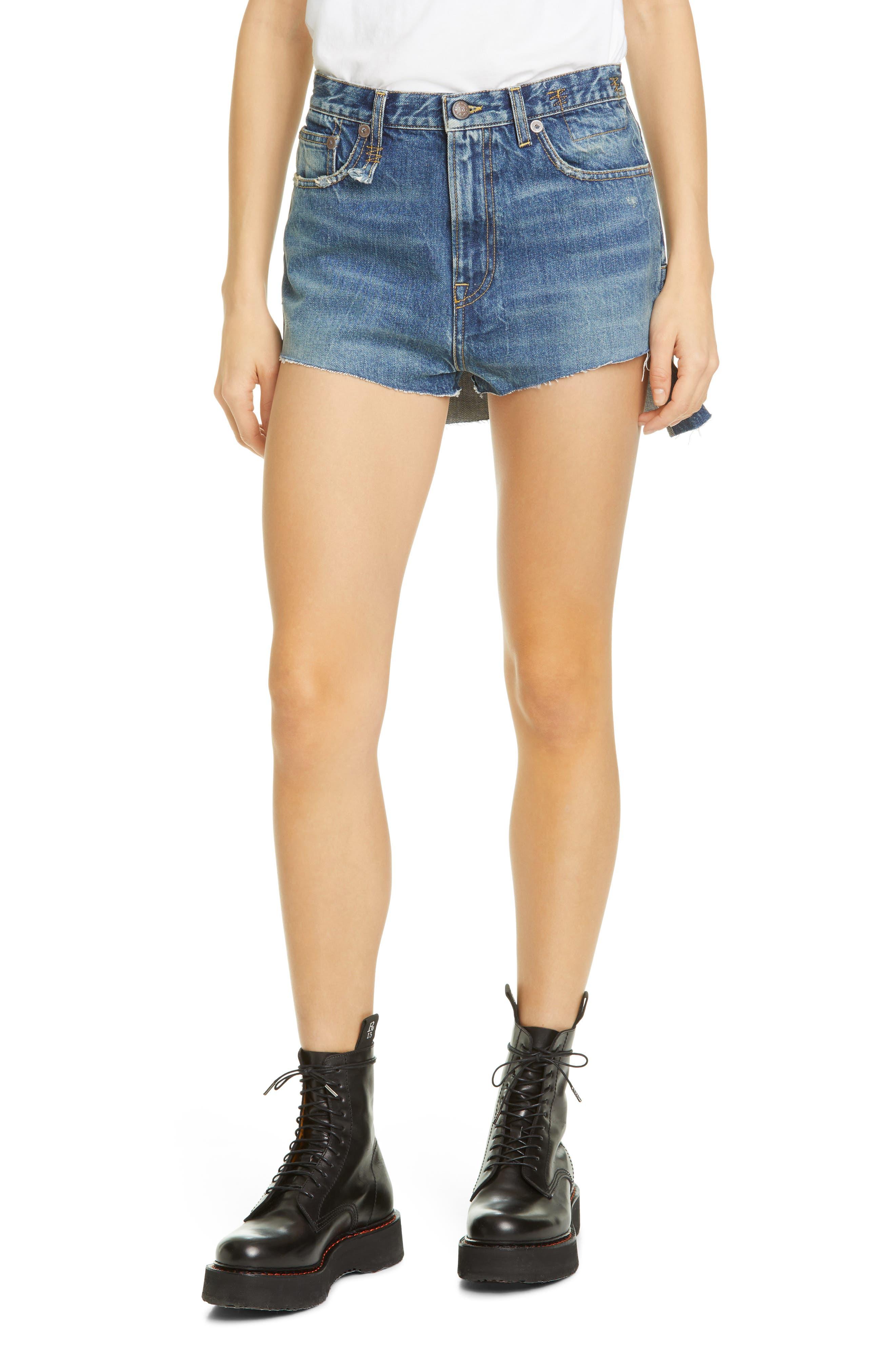 Women's R13 Skirt Back Denim Shorts,  27 - Blue
