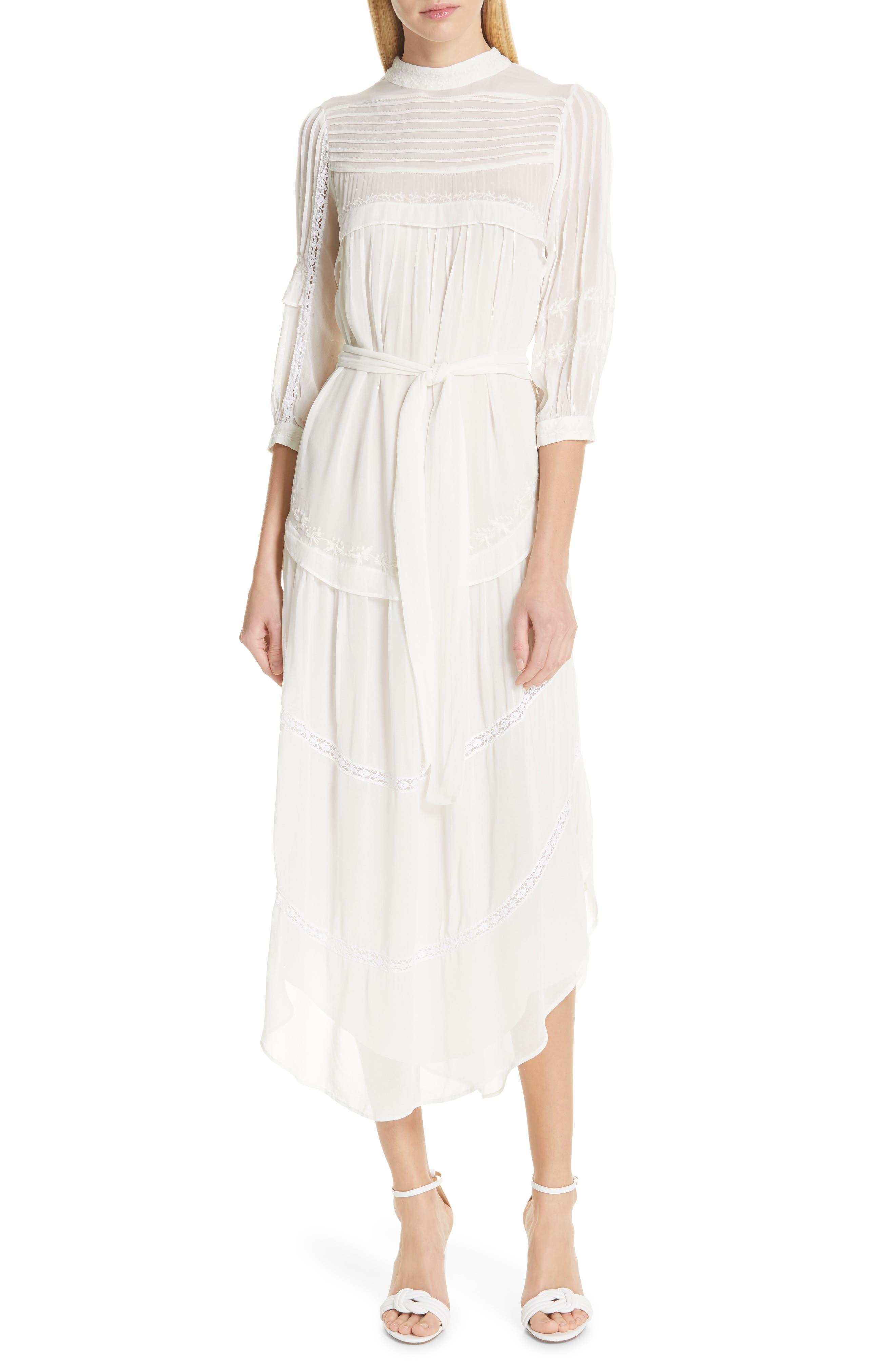Ba & sh Prune Midi Dress, Ivory
