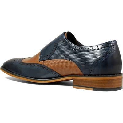Stacy Adams Lavine Wingtip Monk Shoe, Blue