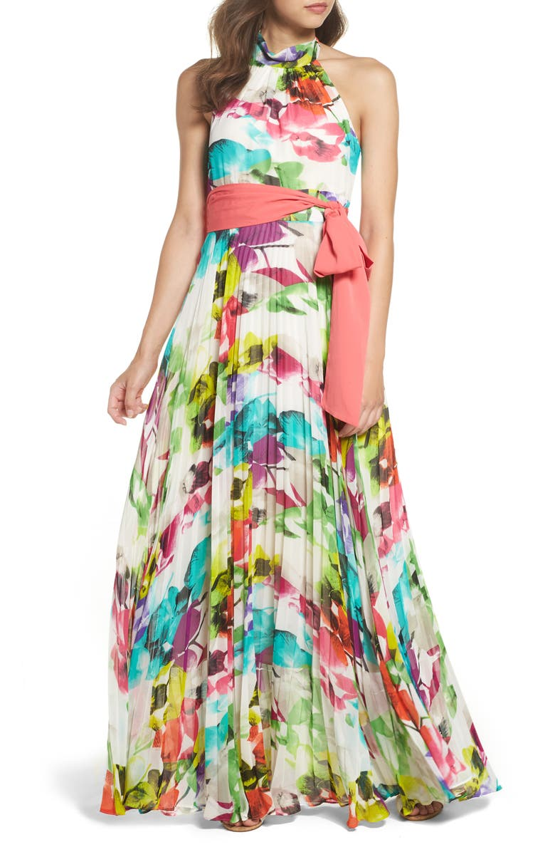 ELIZA J Print Chiffon Halter Maxi Dress, Main, color, 698