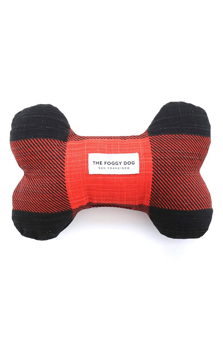 THE FOGGY DOG Red & Black Check Squeaky Dog Toy, Main, color, 600