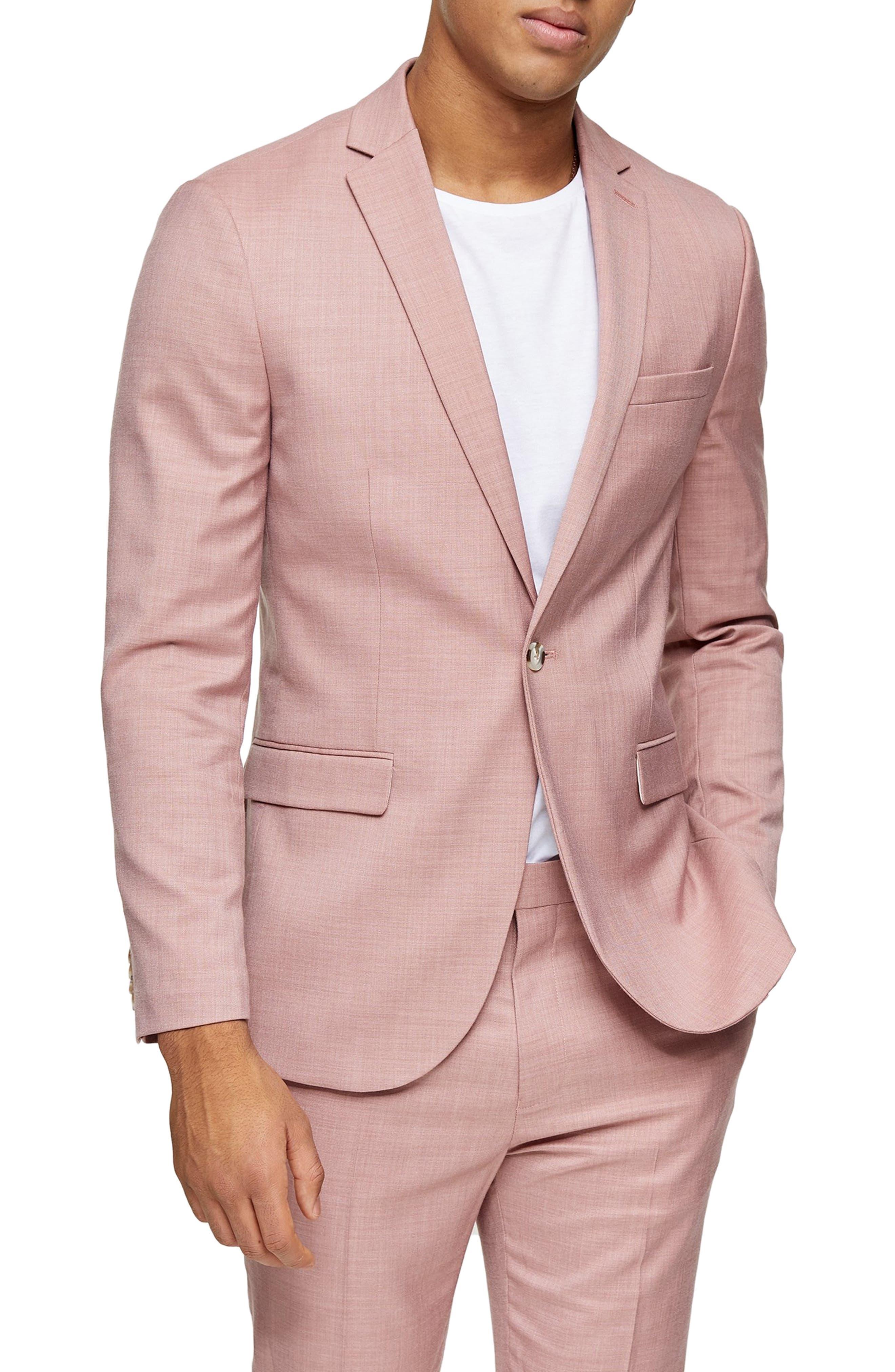 1960s Mens Suits | 70s Mens Disco Suits Mens Topman Dax Slim Fit Suit Jacket Size 48R - Pink $105.30 AT vintagedancer.com