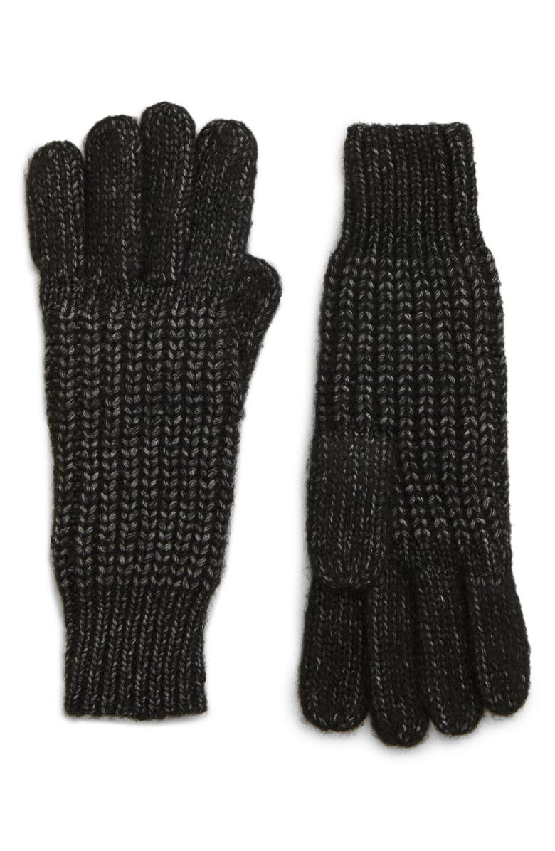 TREASURE & BOND Rib & Shaker Stitch Gloves, Main, color, BLACK