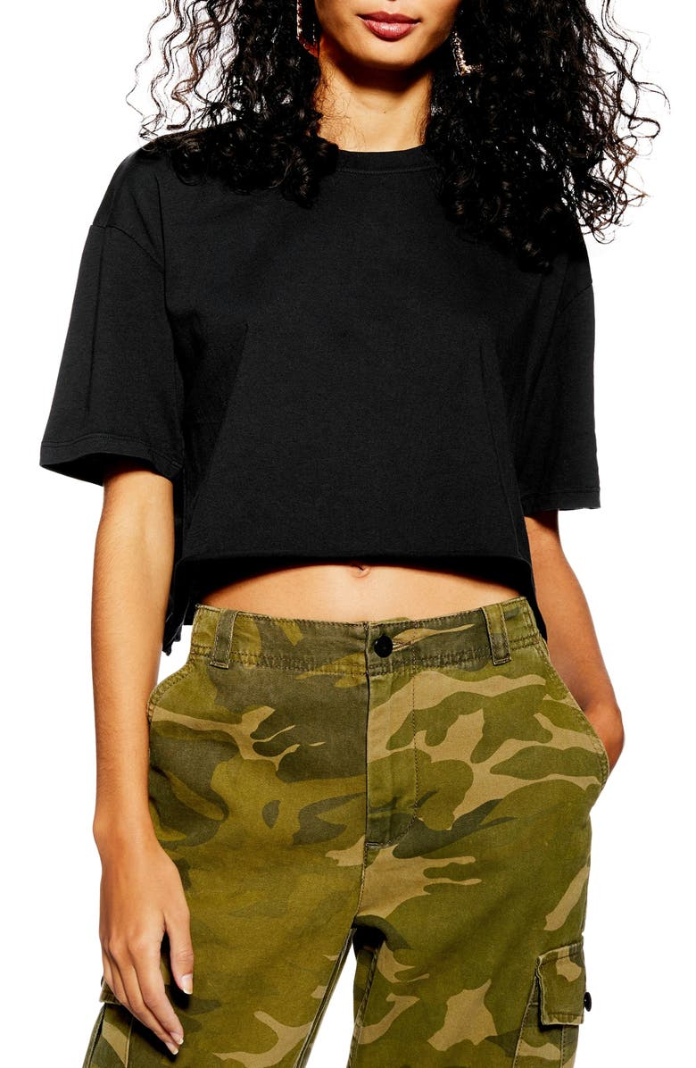 TOPSHOP Boxy Crop Tee, Main, color, 001