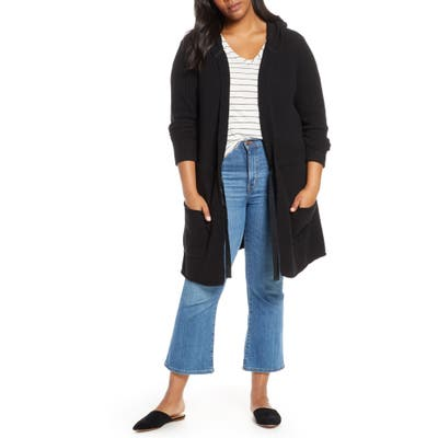 Plus Size Caslon Hooded Cardigan, Black