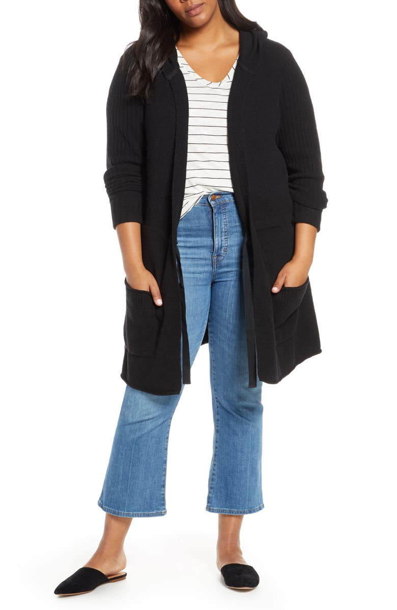 CASLON<SUP>®</SUP> Hooded Cardigan, Main, color, BLACK