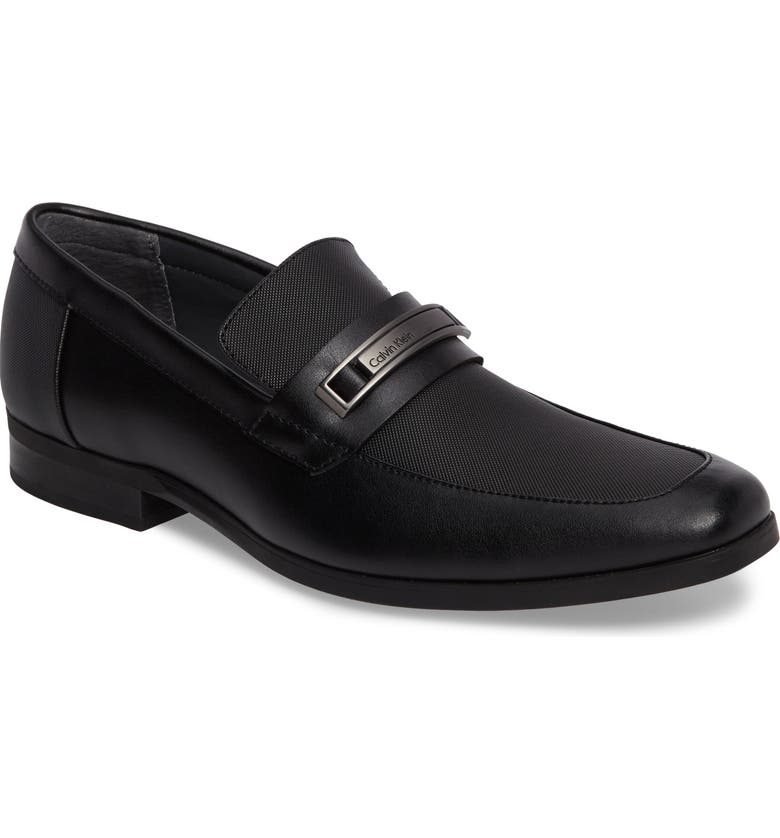 CALVIN KLEIN Jameson Embossed Loafer, Main, color, BLACK LEATHER