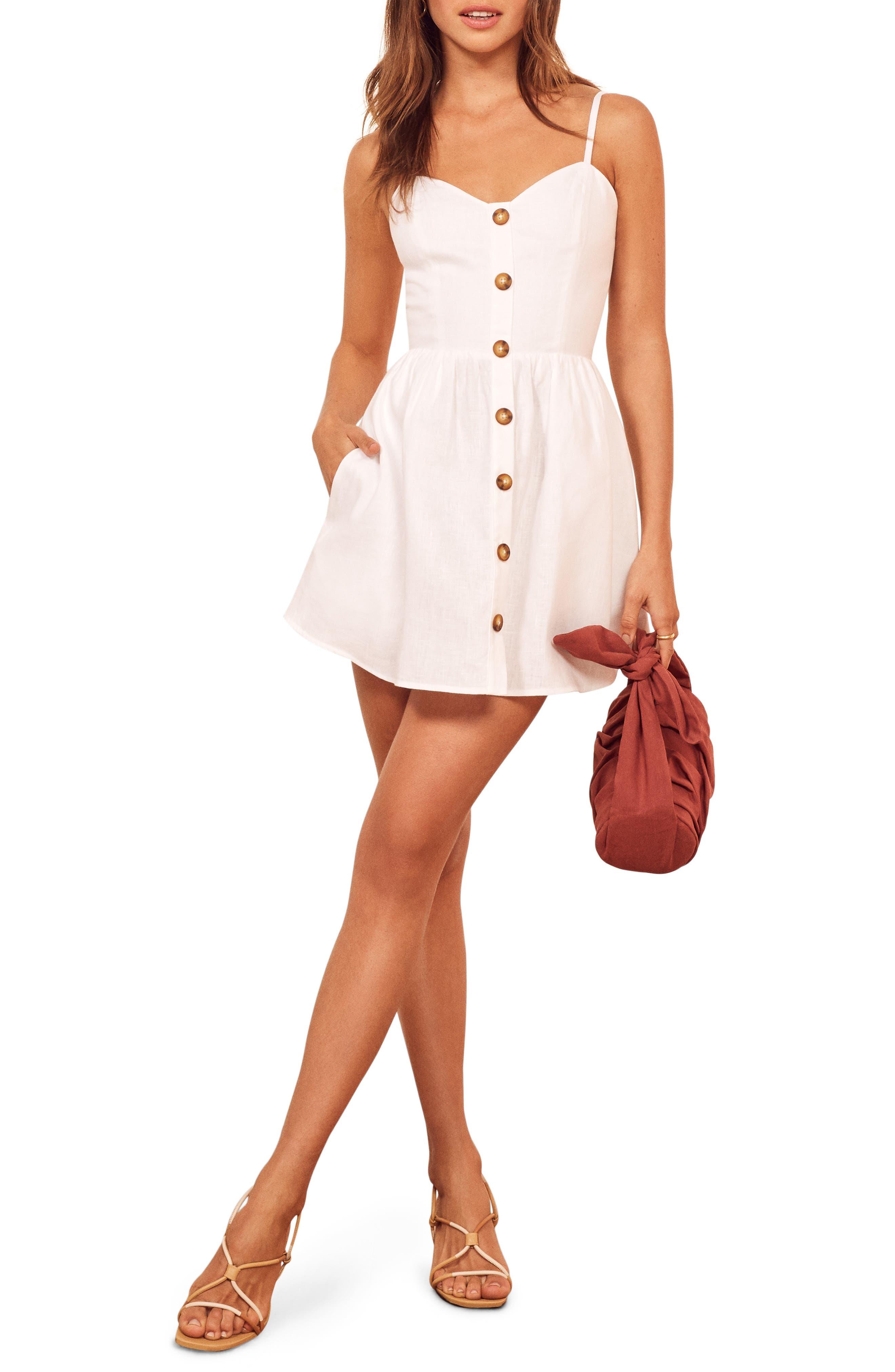 Reformation Velma Sleeveless Minidress, White