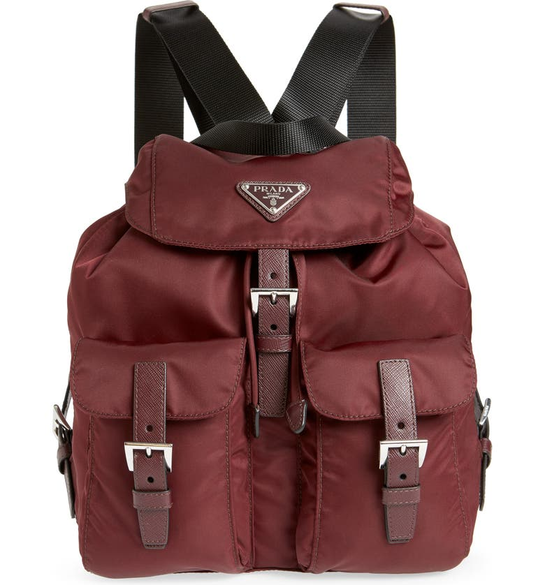 PRADA Medium Nylon Backpack, Main, color, BORDEAUX/ NERO