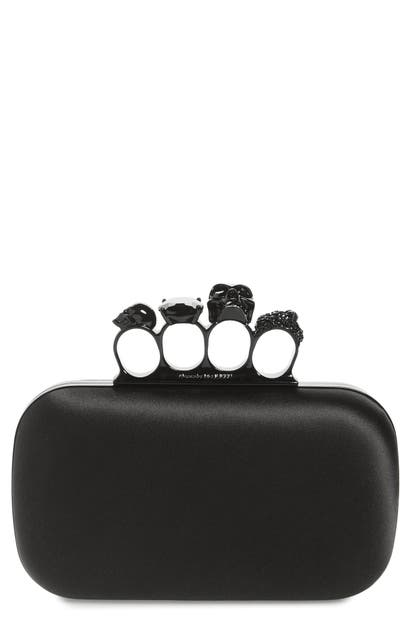 ALEXANDER MCQUEEN SKULL FOUR RING SILK BOX CLUTCH