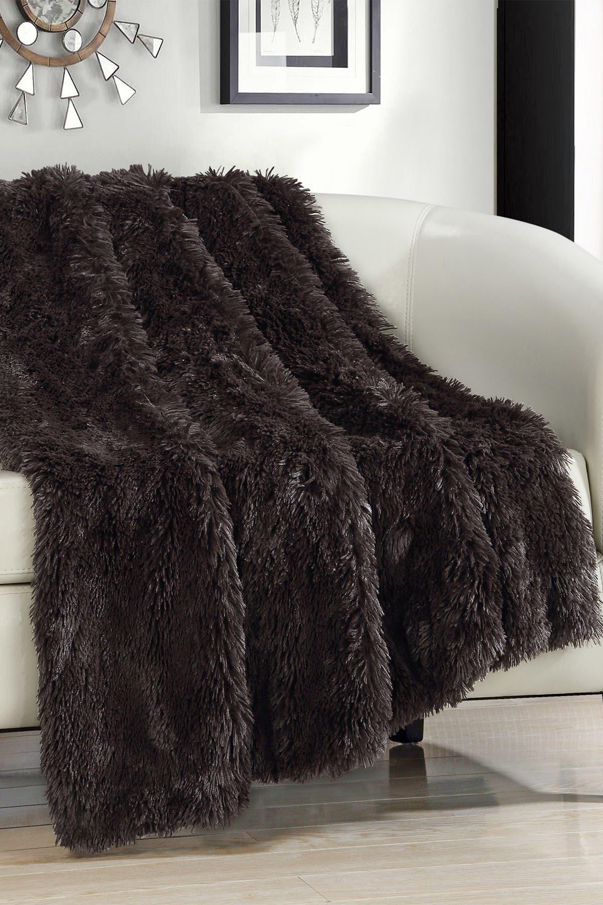 Image of Chic Home Bedding Alaska Faux Fur Throw Blanket - Brown