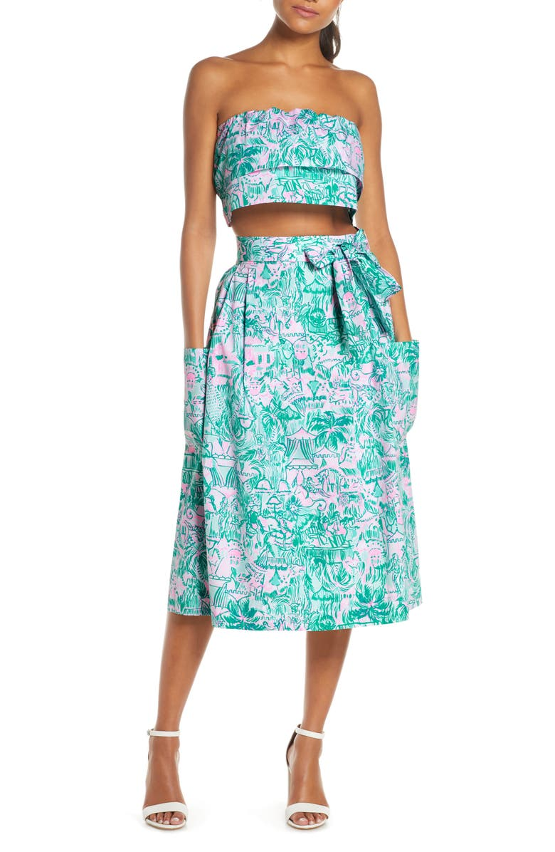 Lilly Pulitzer Lenora Bandeau Top A Line Skirt Set