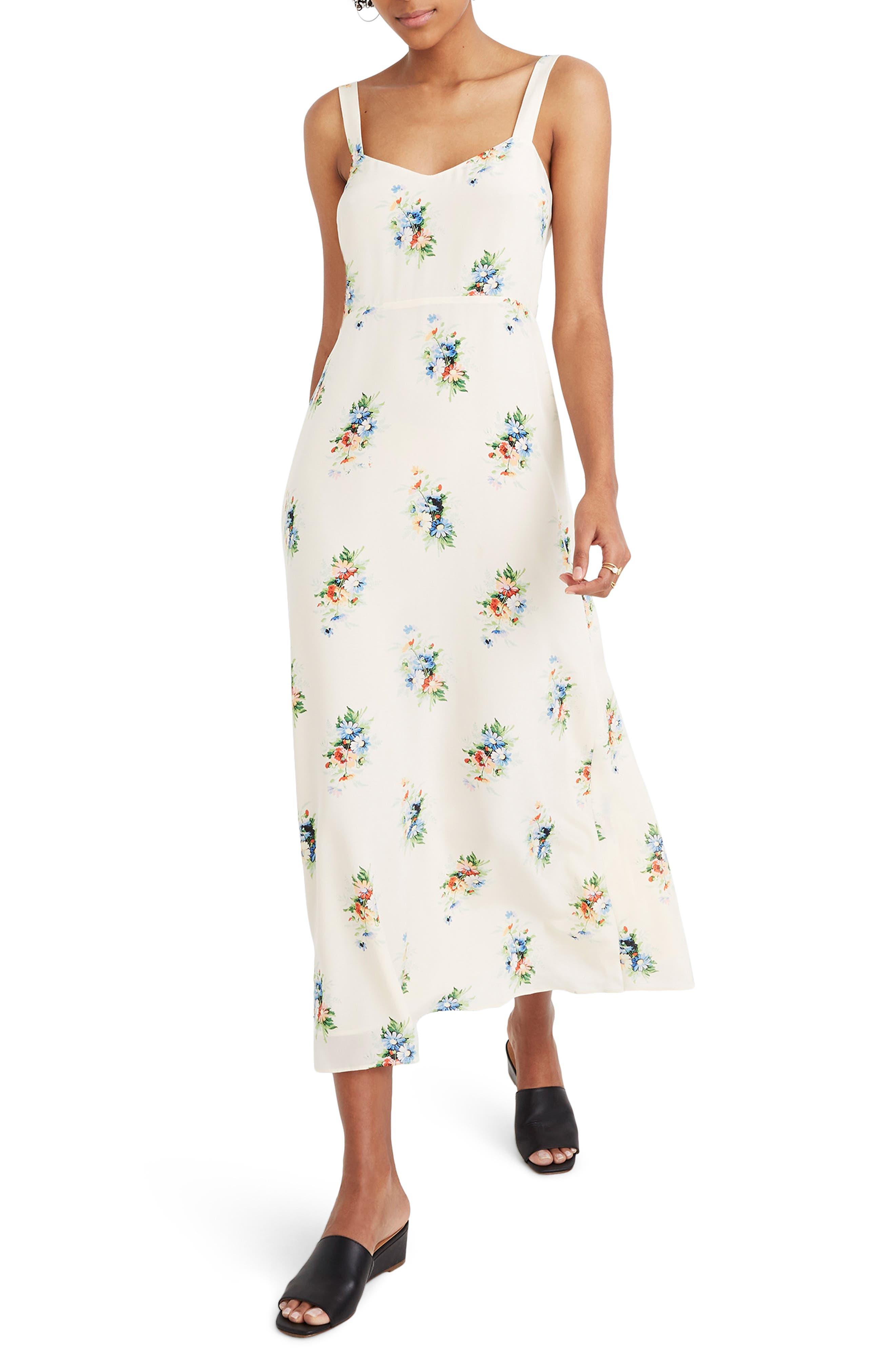 Madewell Wide Strap Silk Dress, Ivory