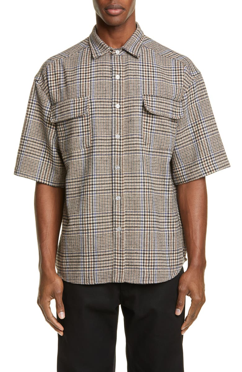 NOON GOONS Curb Check Short-Sleeve Button-Up Shirt, Main, color, RED/WHITE/BLUE