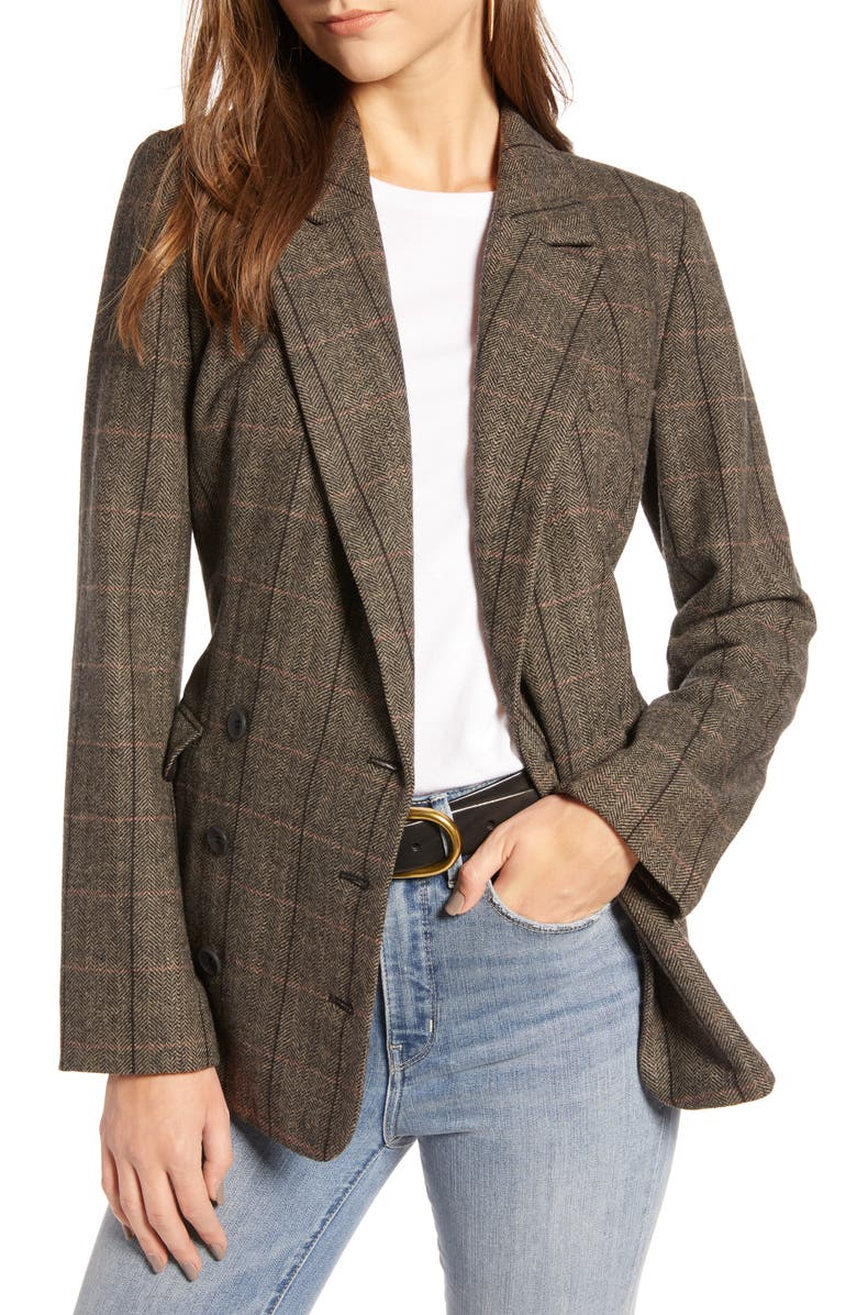 TREASURE & BOND Plaid Double Breasted Blazer, Main, color, 200