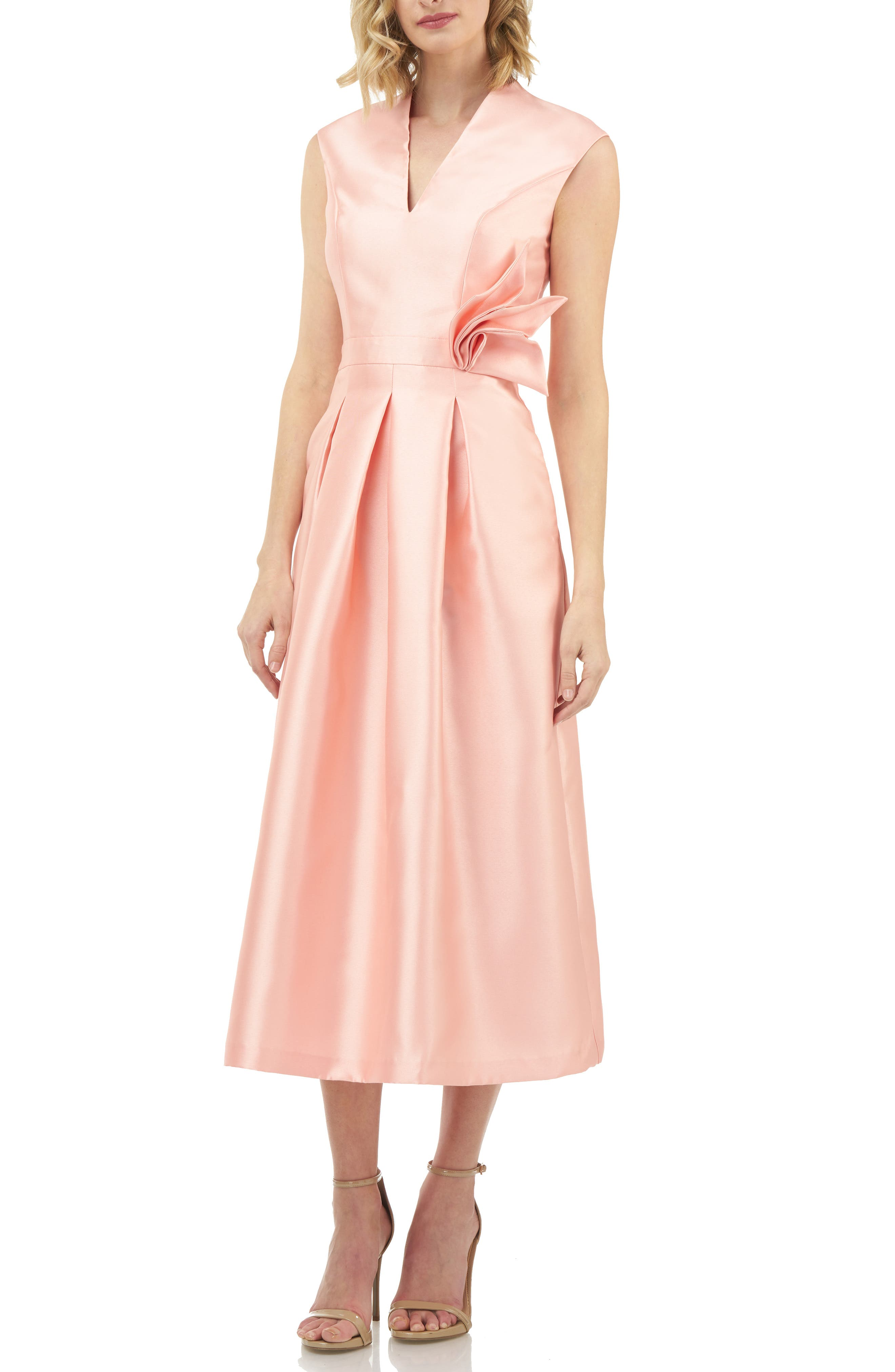 Kay Unger Mikado Tea Length Dress, Coral