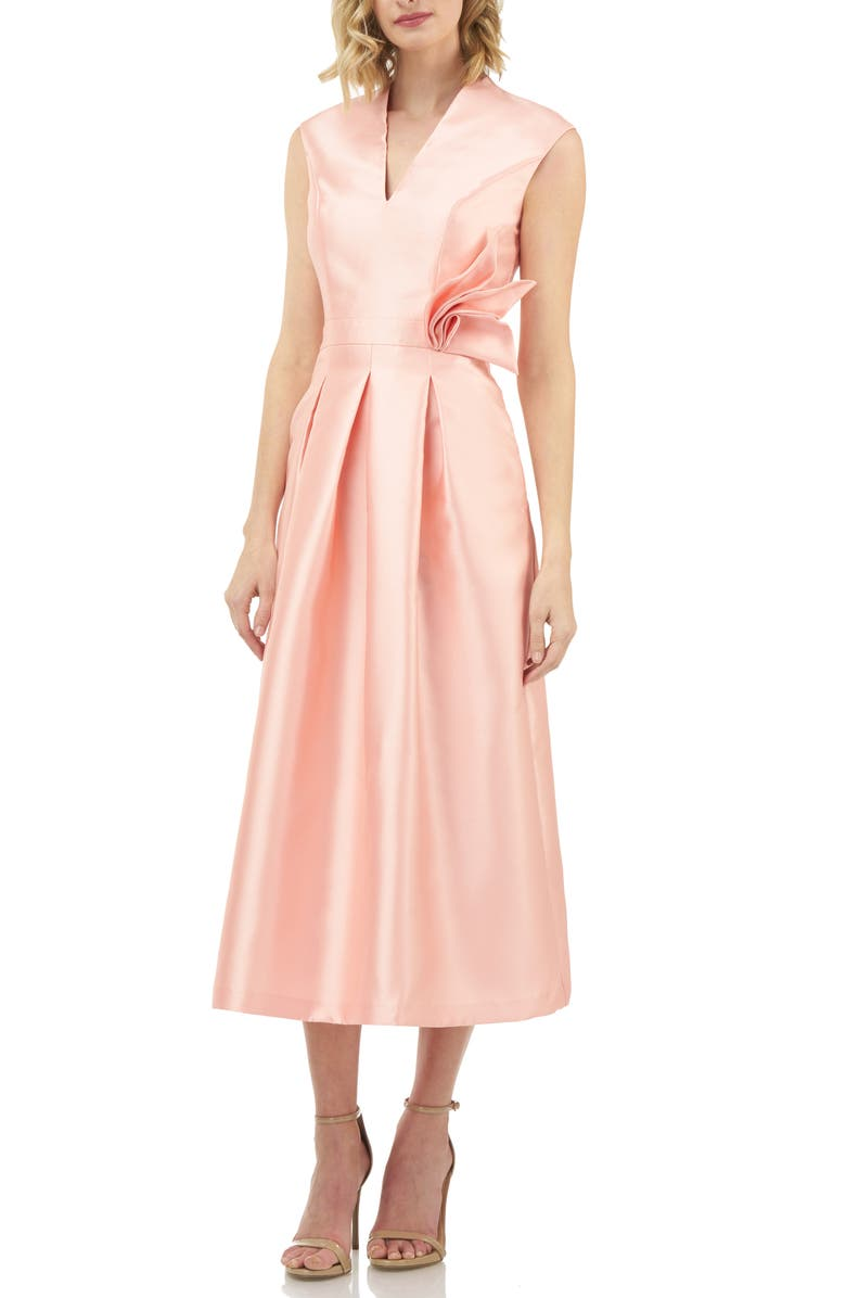 KAY UNGER Mikado Tea Length Dress, Main, color, CORAL