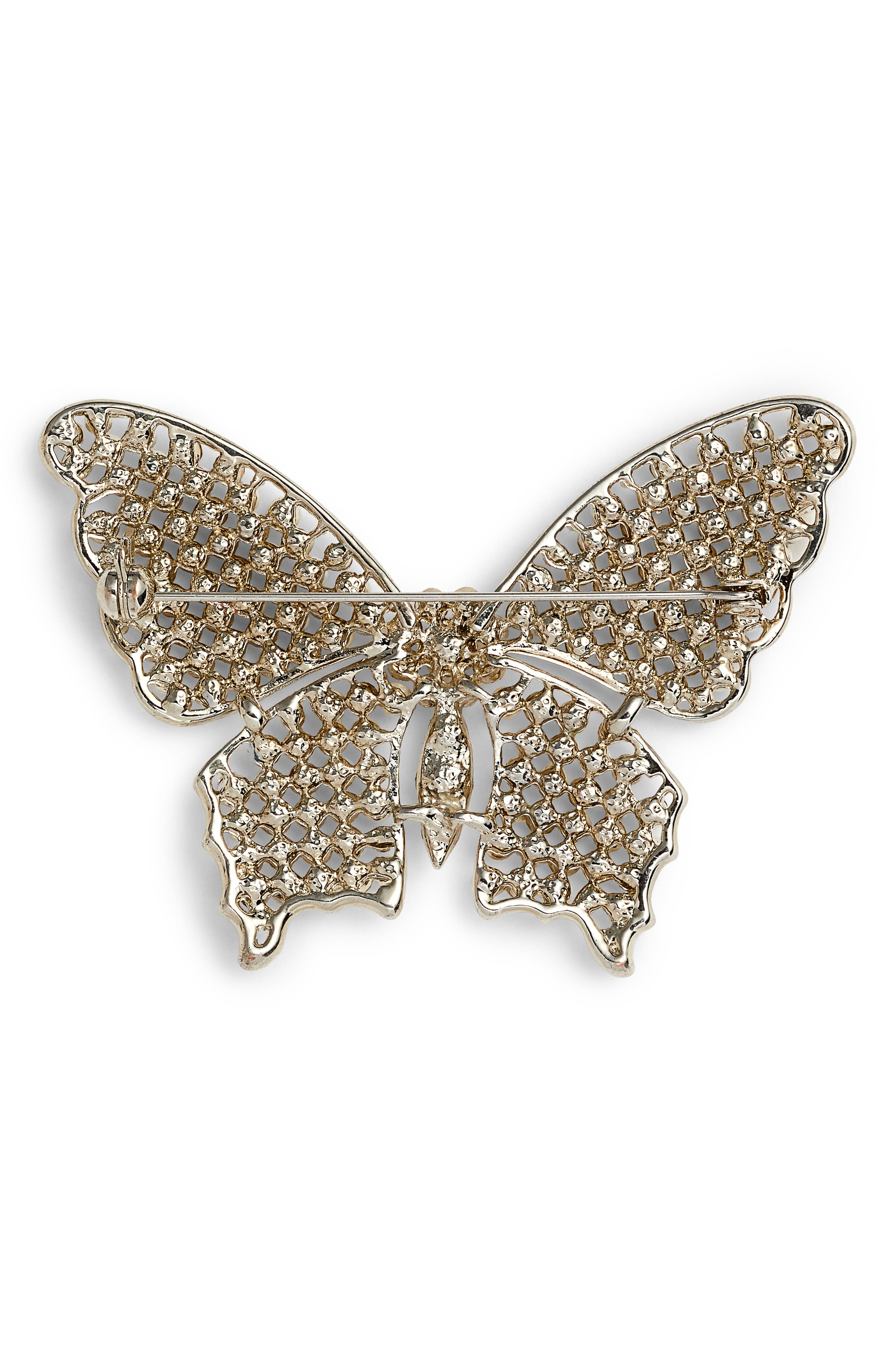 ,                             Faux Pearl & Crystal Butterfly Brooch,                             Alternate thumbnail 2, color,                             SILVER/ IVORY/ WHITE CRYSTAL
