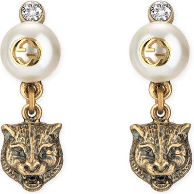 Gucci Feline Head Faux Pearl Earrings