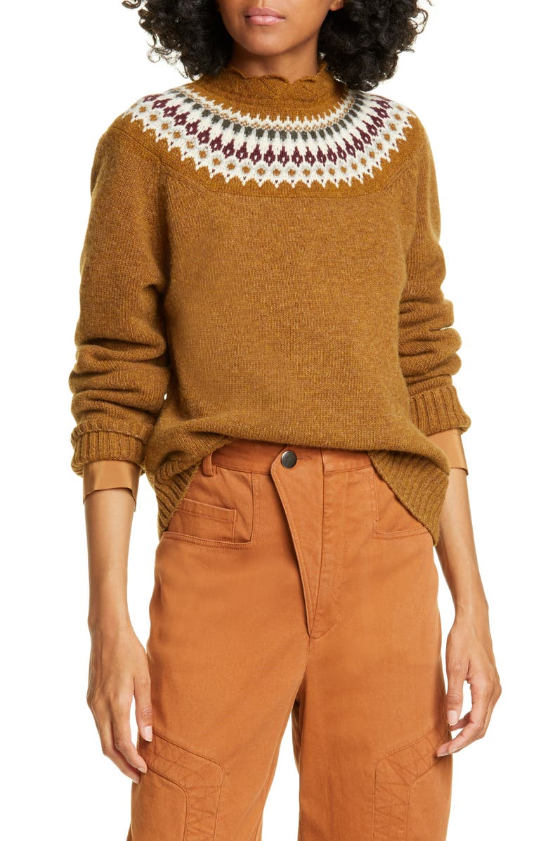 SEA Bric Fair Isle Wool Sweater, Main, color, MUSTARD