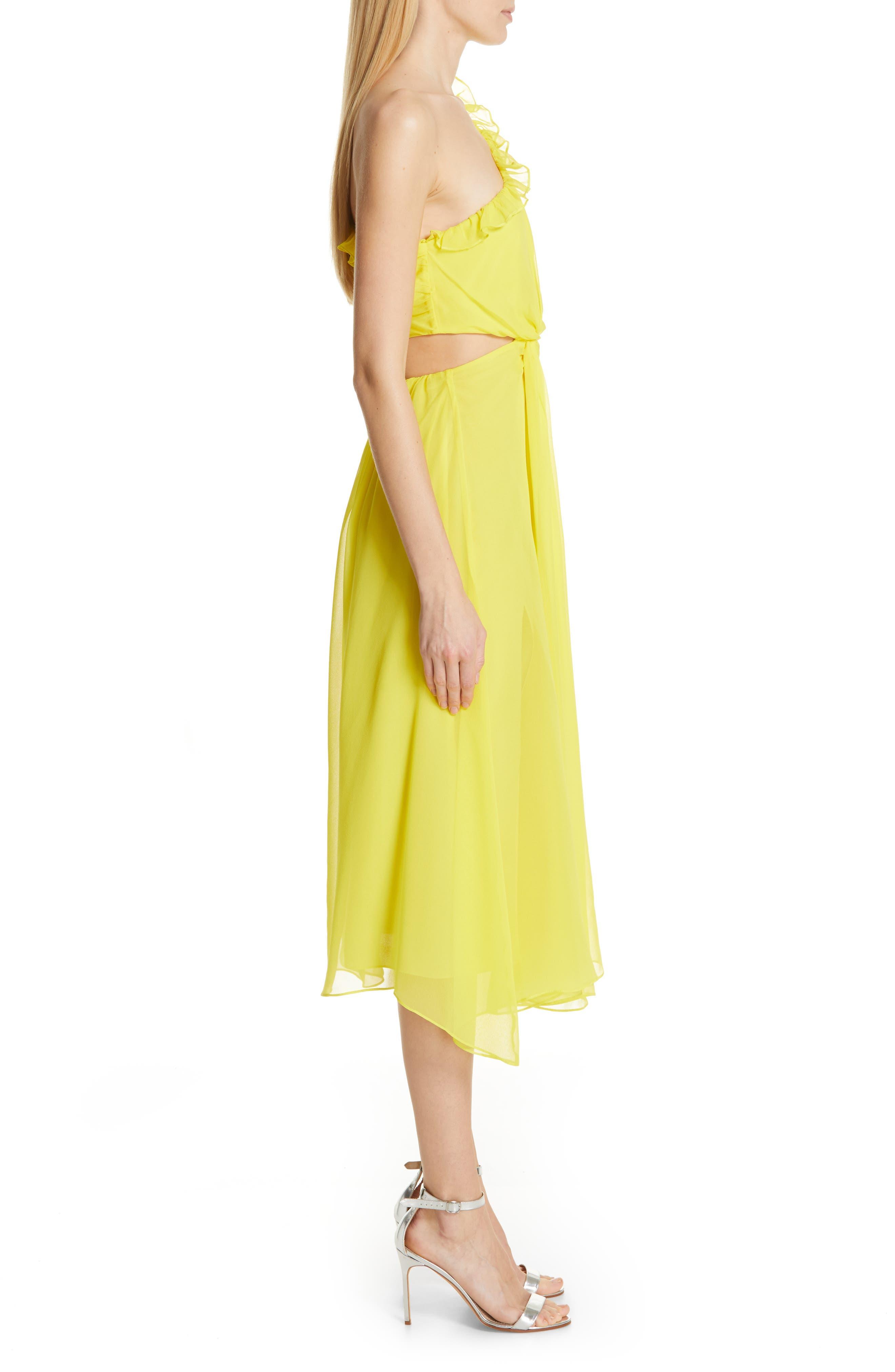 ,                             Corinne One-Shoulder Silk Dress,                             Alternate thumbnail 3, color,                             BLAZING YELLOW