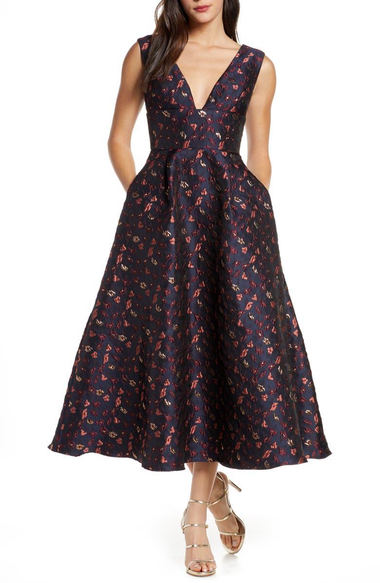 ML MONIQUE LHUILLIER Floral Jacquard A-Line Dress, Main, color, NAVY MULTI