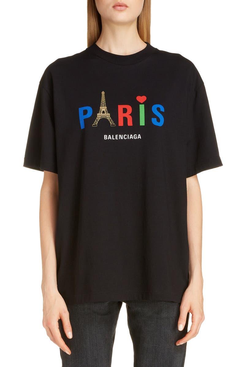 BALENCIAGA Paris Love Logo Graphic Oversized Cotton Tee, Main, color, BLACK
