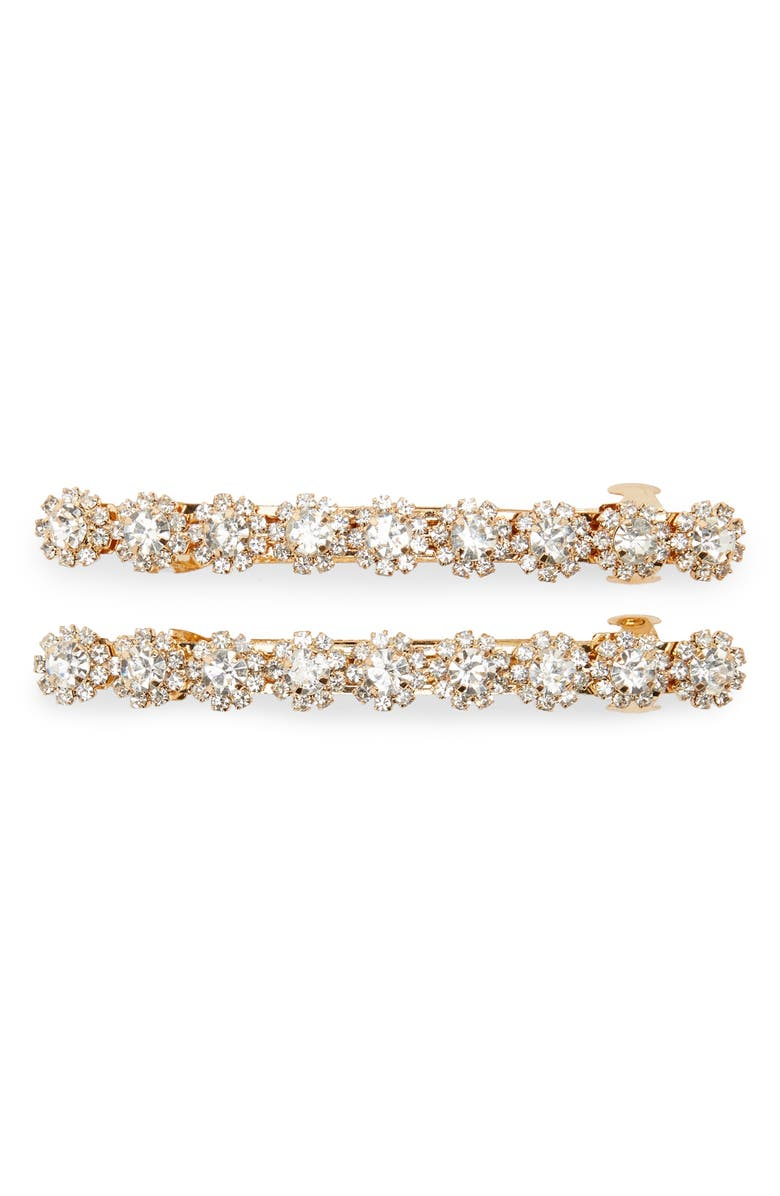 TASHA 2-Pack Small Crystal Barrettes, Main, color, GOLD