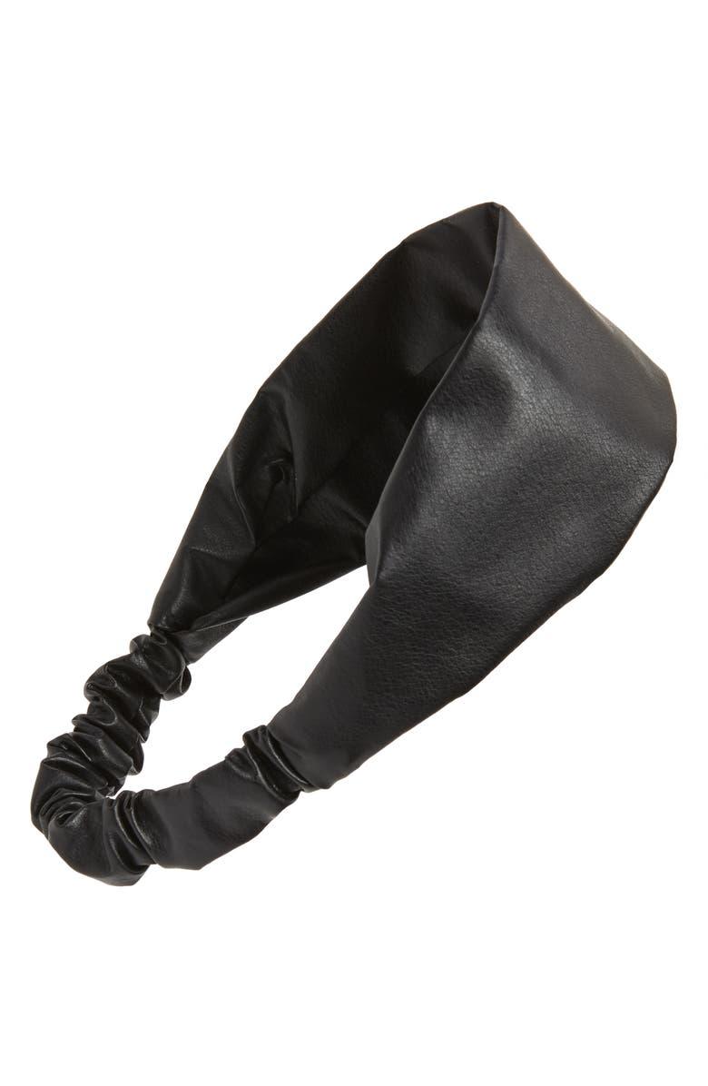 TASHA Faux Leather Head Wrap, Main, color, 001