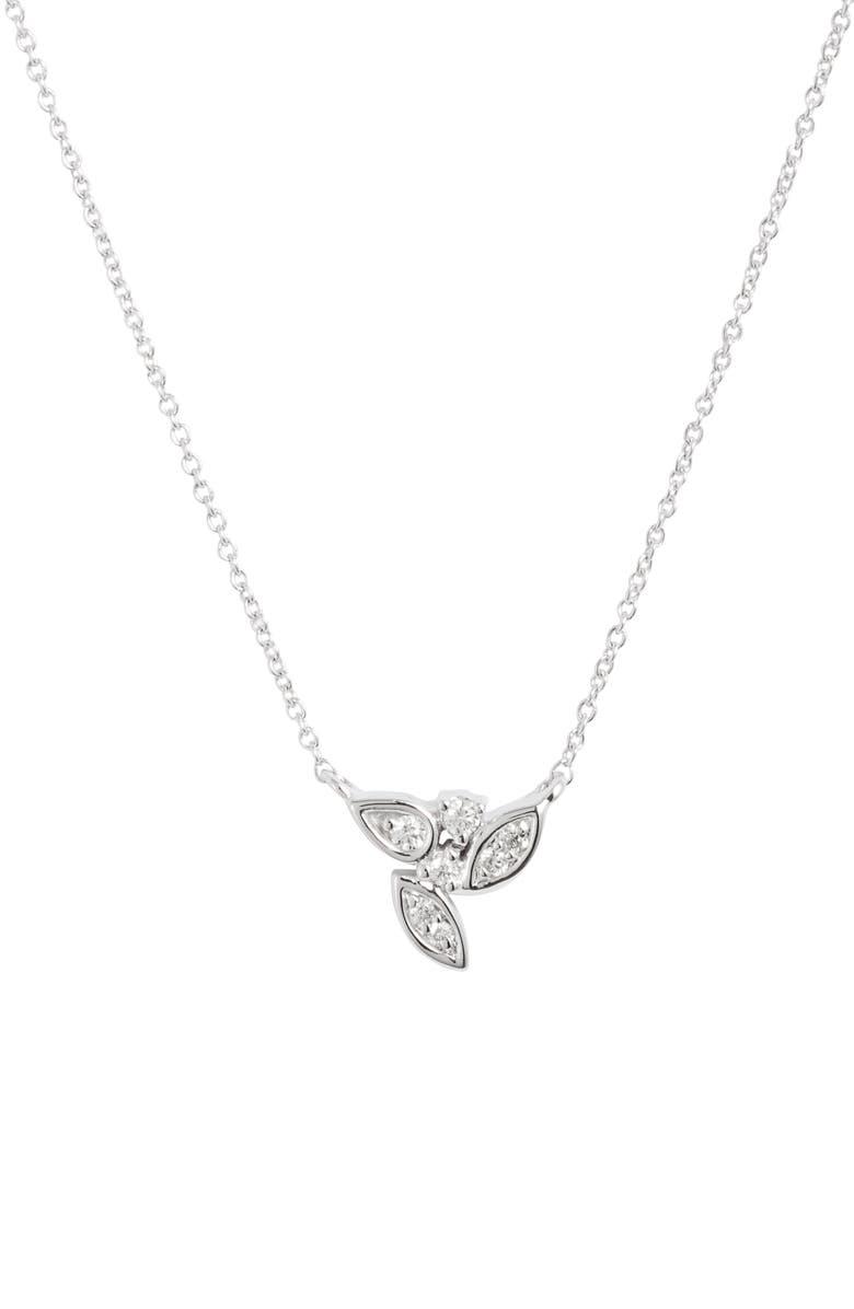 DANA REBECCA DESIGNS Lori Paige Cluster Diamond Necklace, Main, color, WHITE GOLD/ DIAMOND