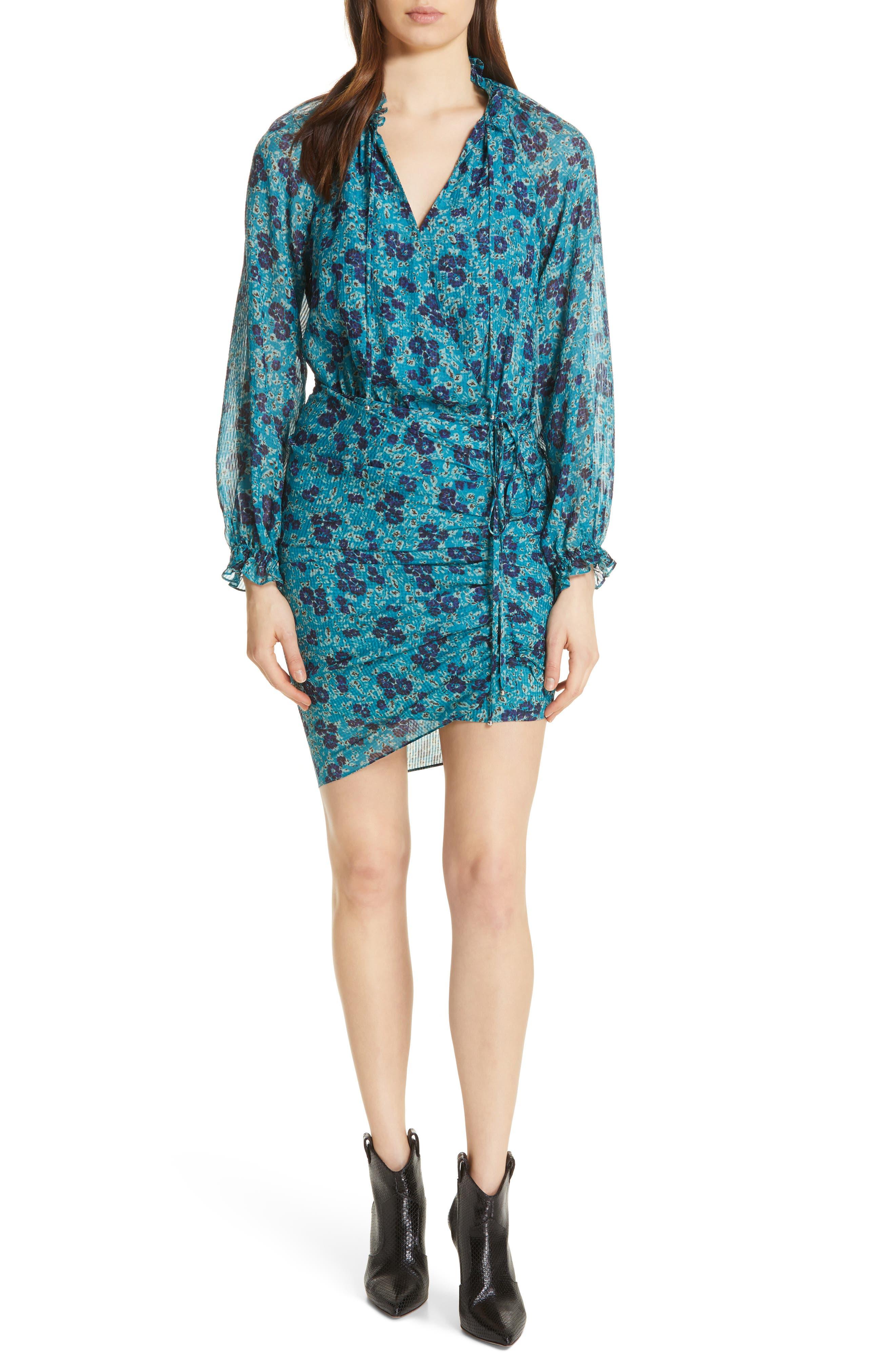 Veronica Beard Becky Floral Print Silk Dress, Blue/green