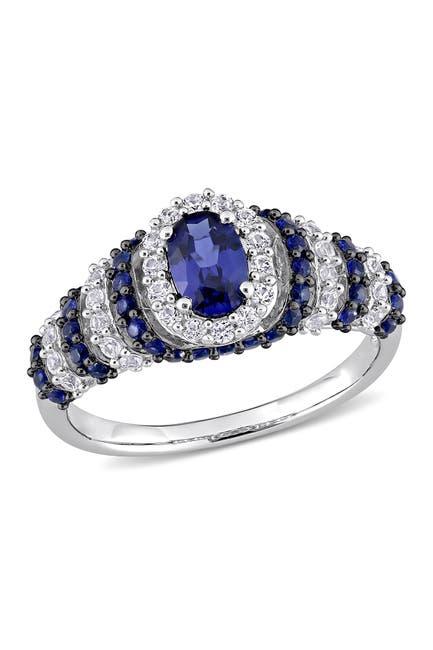 Image of Delmar Black Rhodium Sterling Silver Created Blue Sapphire & White Sapphire Ring